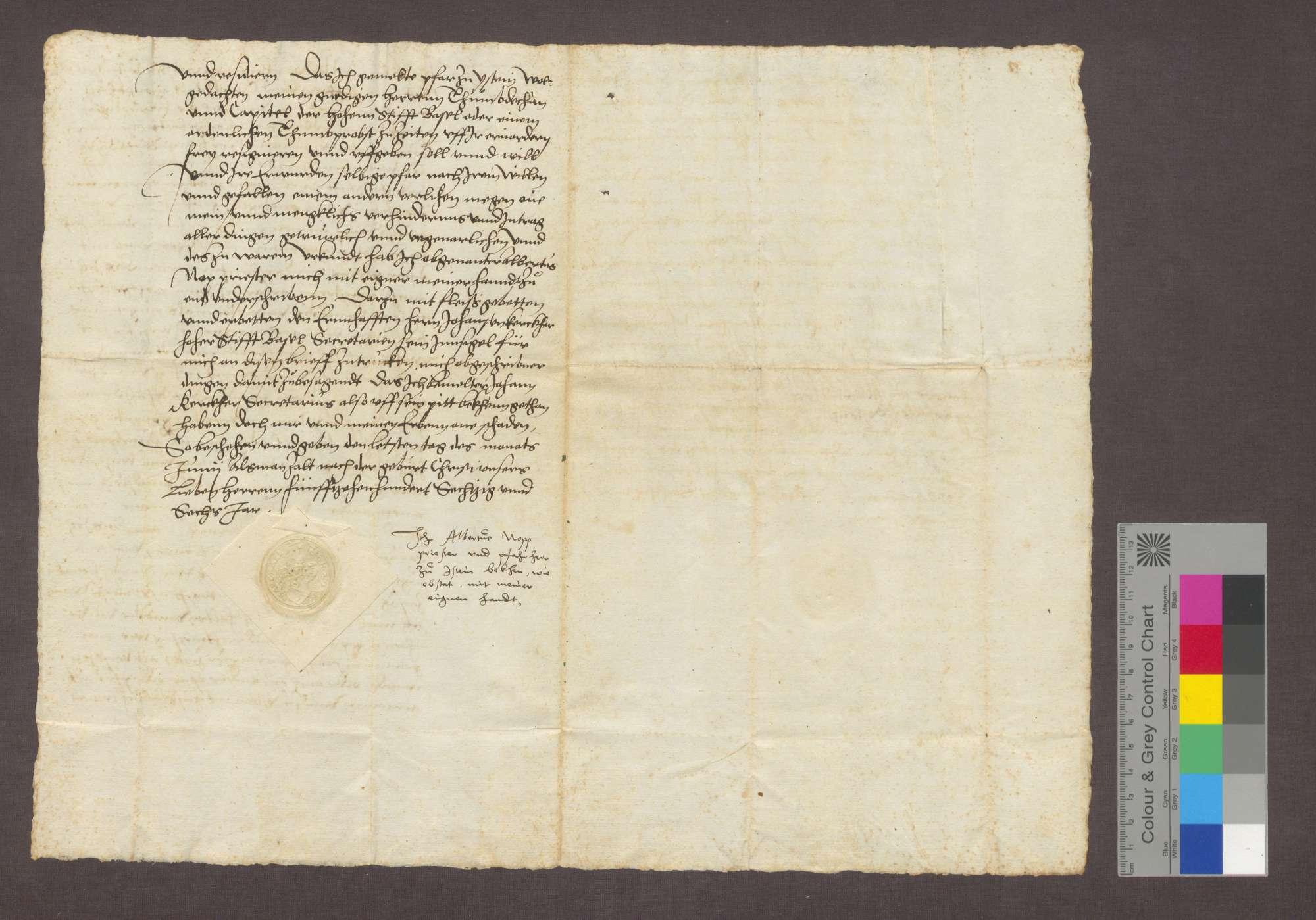 Revers des Albert Nopp über die Bestellung zum Pfarrer in Istein., Bild 2