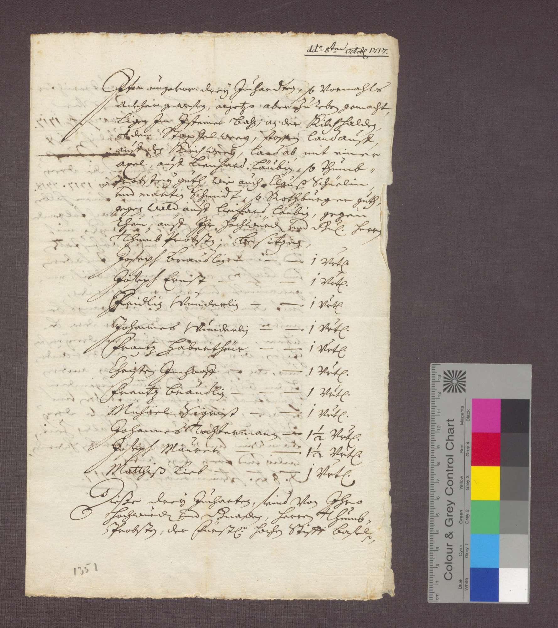 Auszug aus einem Isteiner Berain, betreffend 3 Juchert Acker., Bild 2