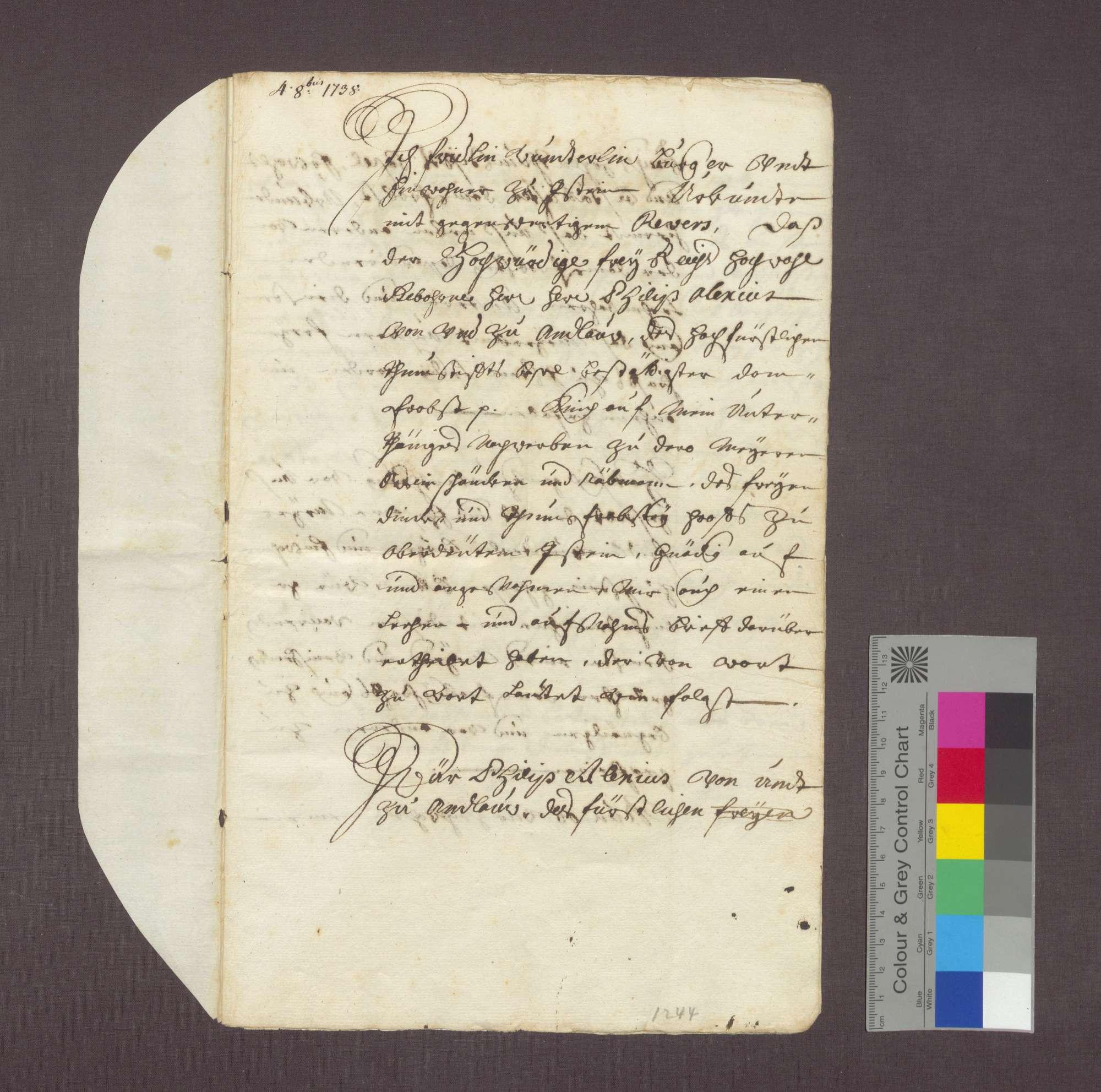 Revers des Fridlin Wunderlin über seine Bestellung als Meier des Domstifts Basel in Istein., Bild 1