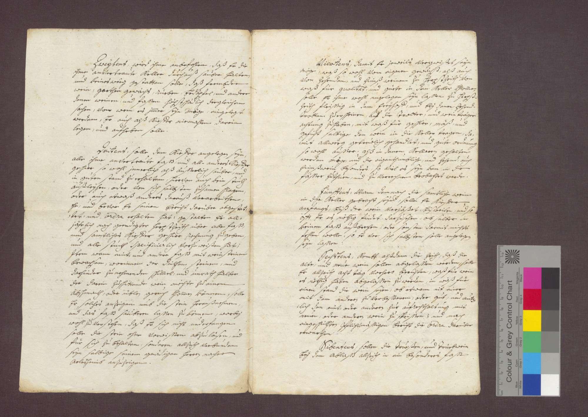 Keller und Küferordnung des Basler Domkapitels für seinen Küfer Josef Döserich (Desterich) in Istein, Bild 2