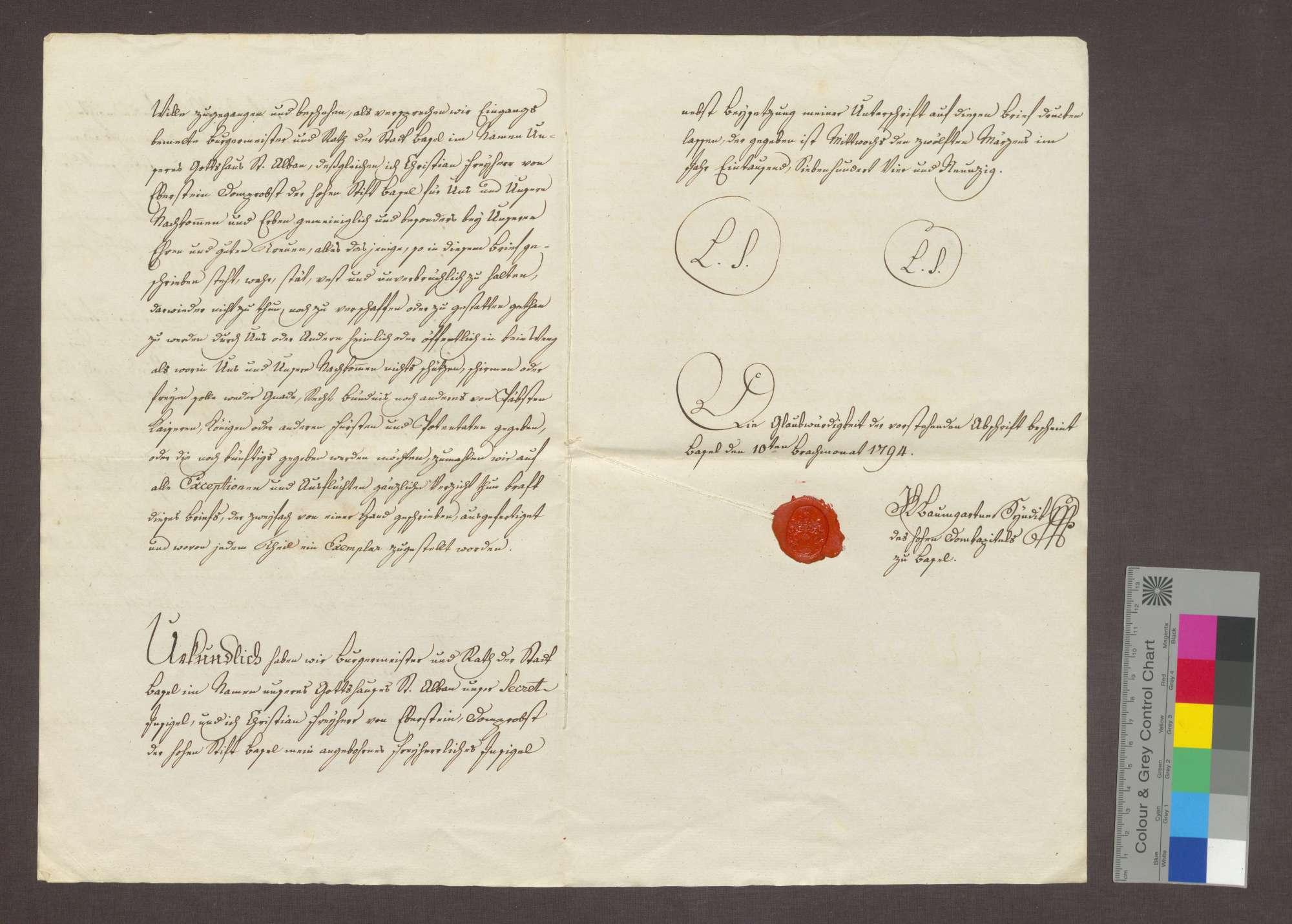 Bürgermeister und Rat zu Basel übertragen dem Freiherrn Christian von Eberstein die Propstei zu Istein., Bild 3