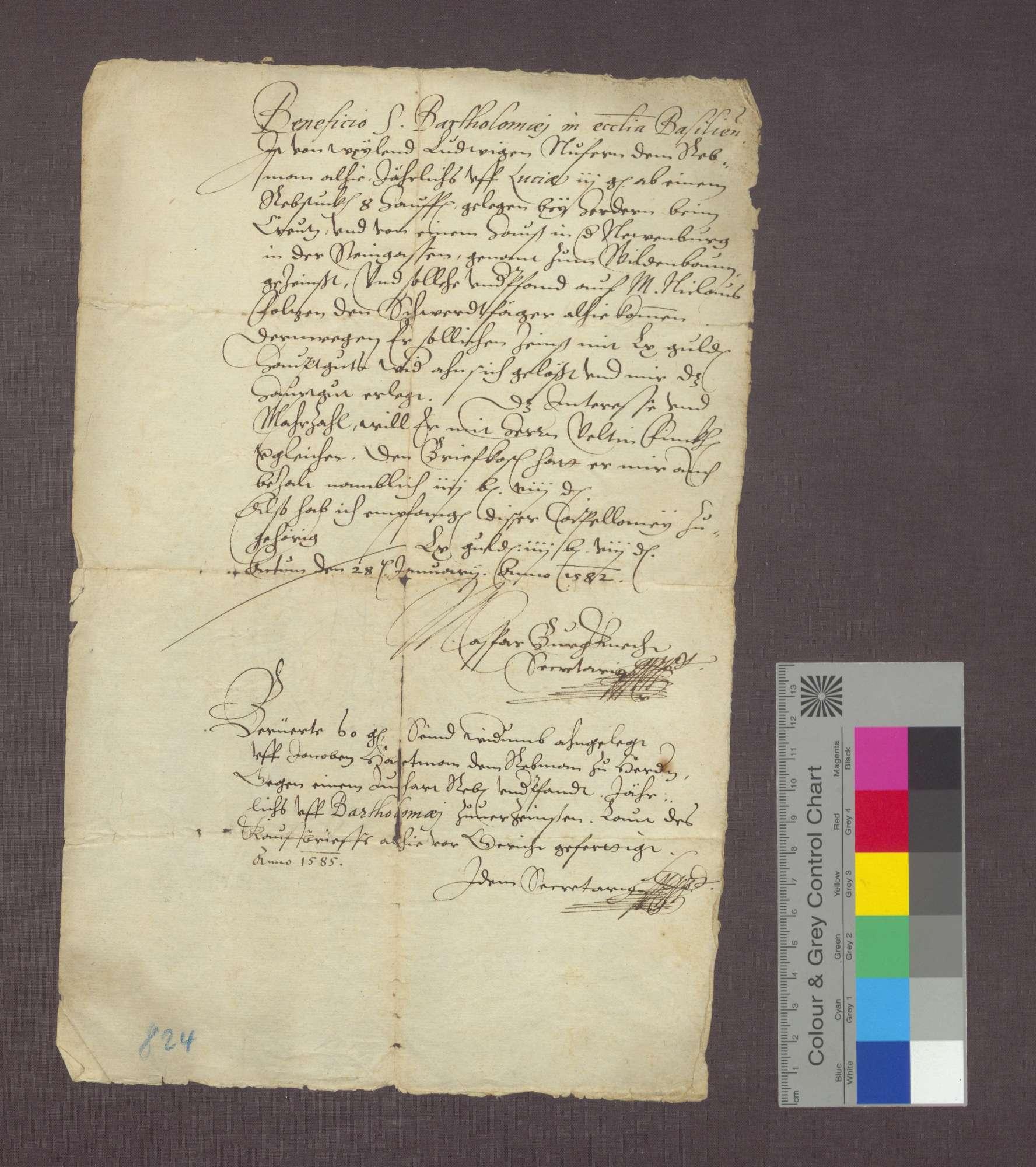 Revers über einen Zins zu Herdern, der jährlich auf St. Bartholomäi der Kirche zu Basel zu entrichtenist., Bild 1