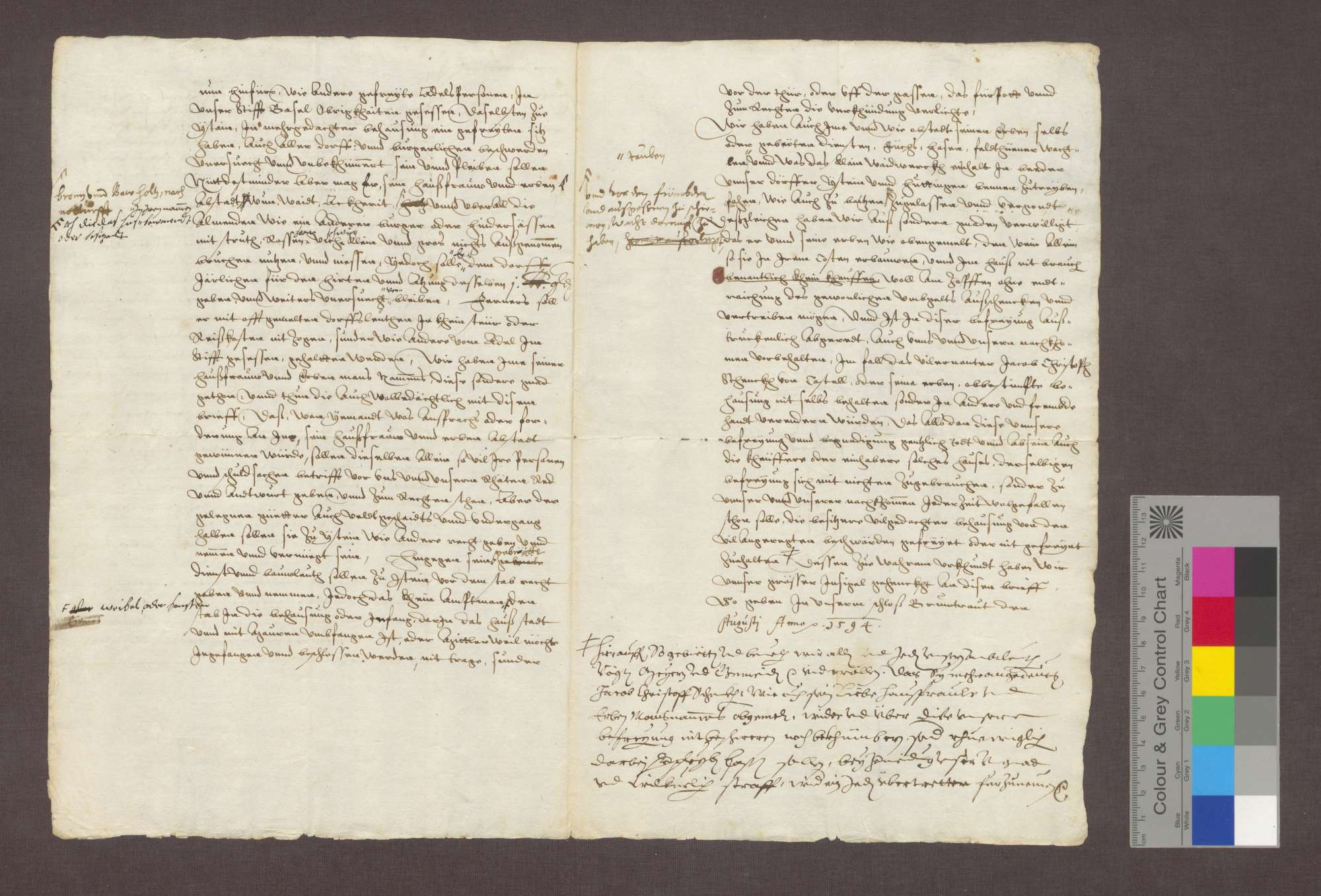 Der Basler Bischof Jakob Christoph Blarer von Wartensee freit dem Jakob Christoph Schenk von Castell den von dem verstorbenen Domdekan Franz von Apponez gekauften Hof zu Istein., Bild 3