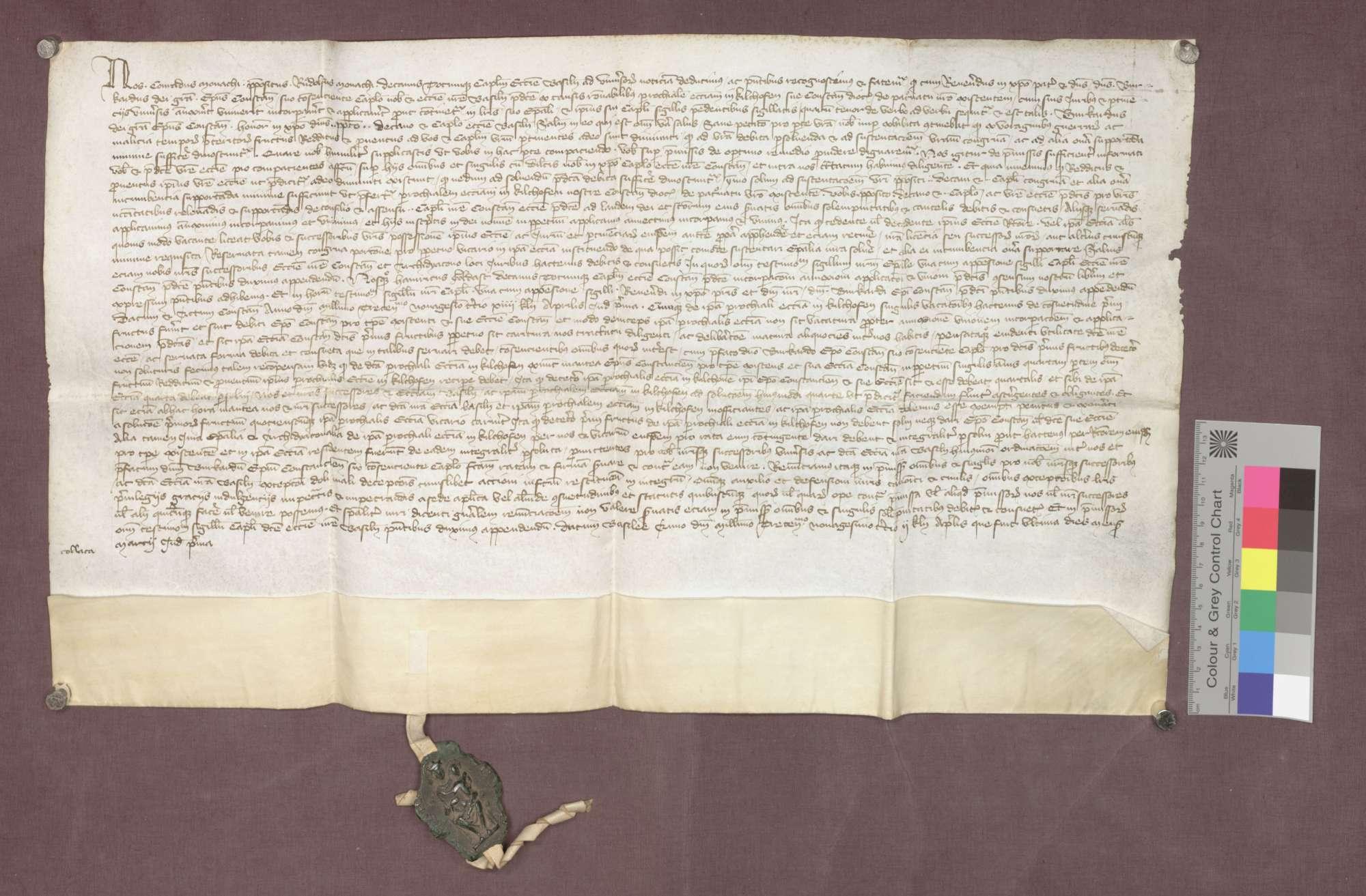 Revers des Basler Domkapitels gegenüber Bischof Burkard von Konstanz über die Inkorporation der Kirche zu Kirchhofen., Bild 1