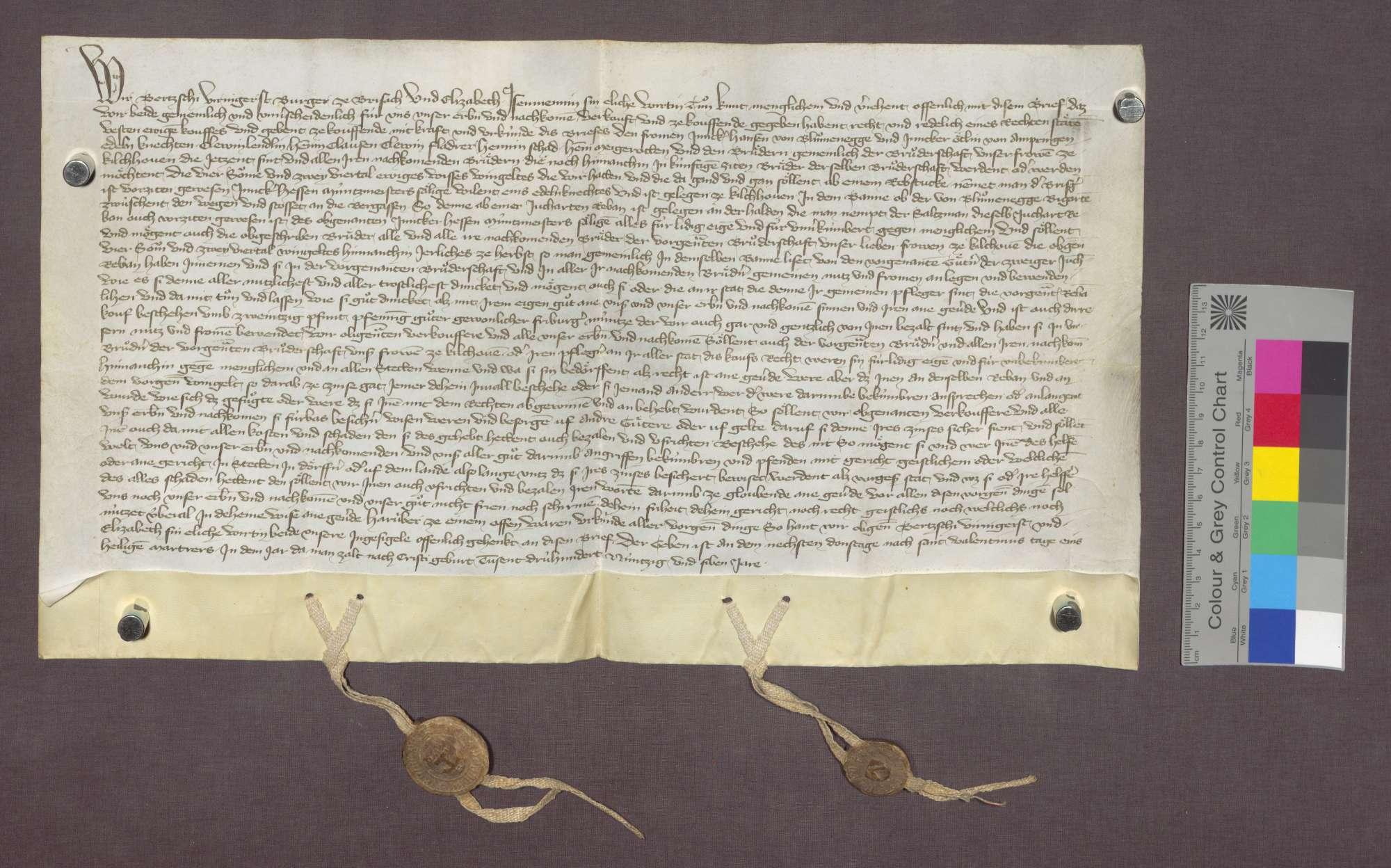 Bertsche Viringer von Breisach verkauft der Liebfrauen-Bruderschaft zu Kirchhofen eine Weingült in Kirchhofen., Bild 1
