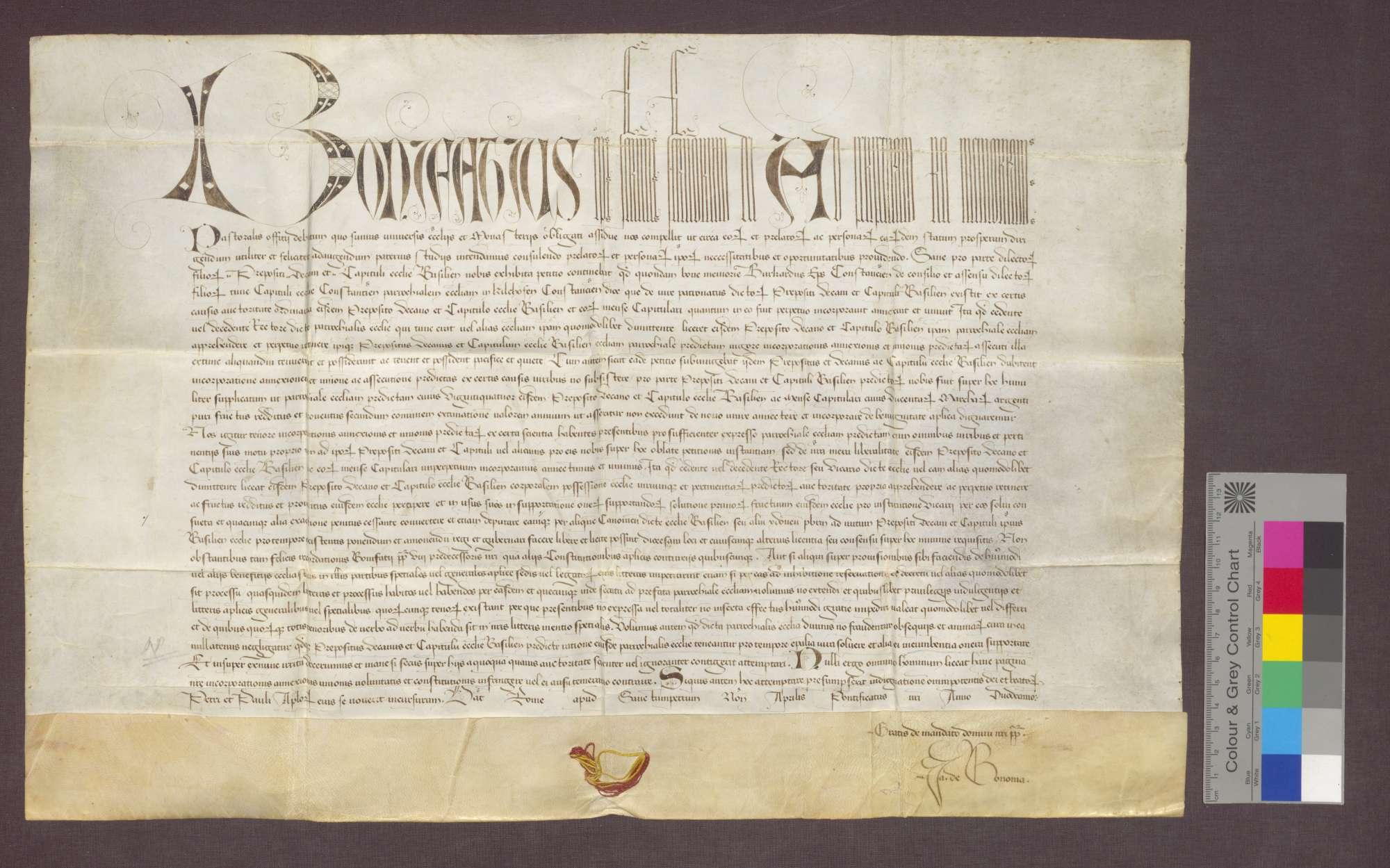Papst Bonifaz IX. bestätigt die Inkorporation der Pfarrkiche zu Kirchhofen in das Domstift Basel., Bild 2