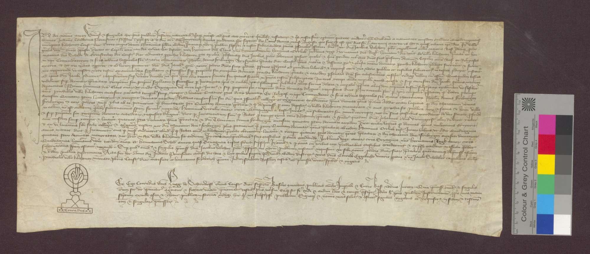 Durch Zeugenaussagen wird festgestellt, dass der Rektor in Kirchhofen den vierten Teil, die Deutsch-Herren zu Freiburg den fünften Teil des Zehnten zu Kirchhofen zu beziehen haben., Bild 1