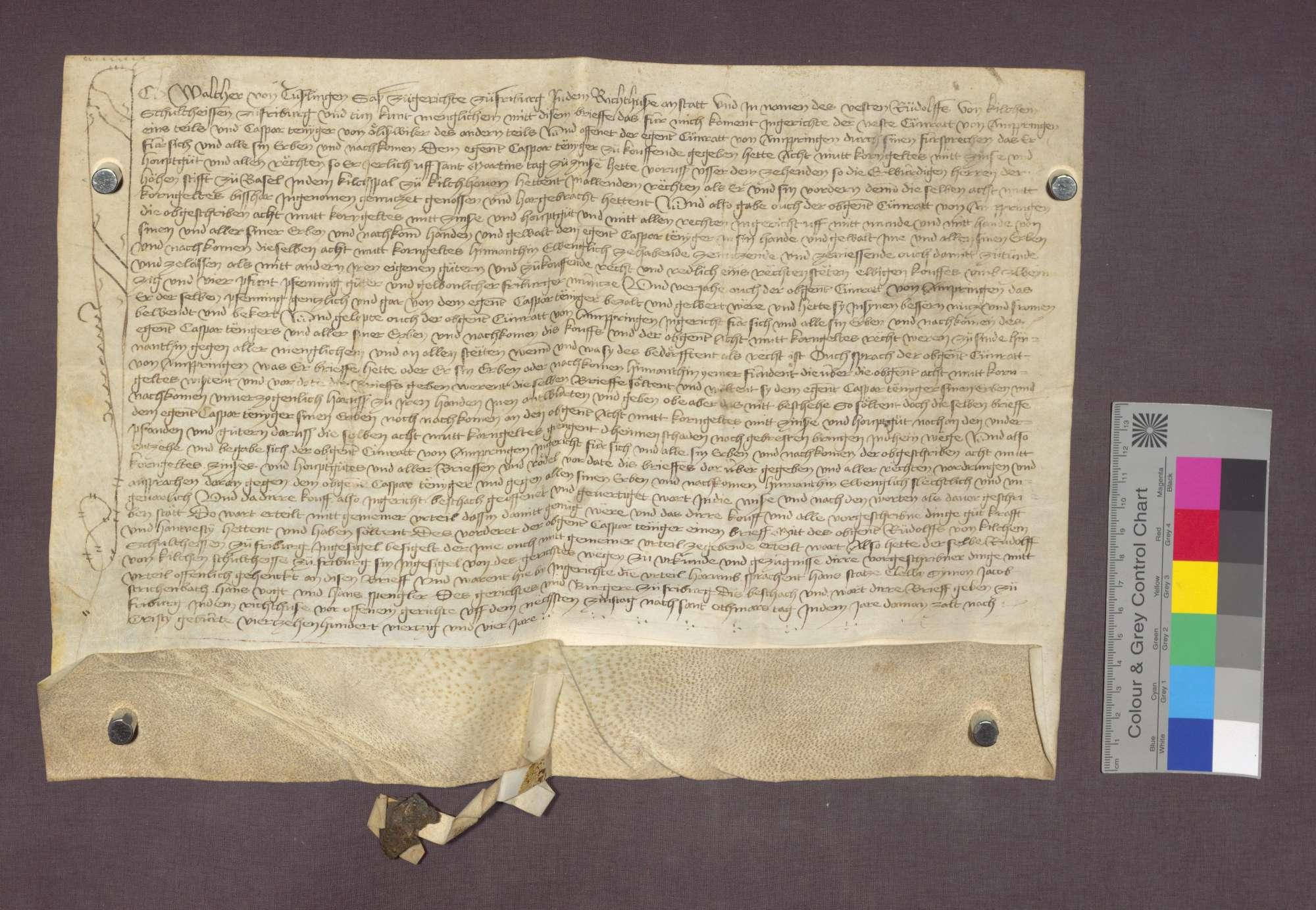 Konrad von Ambringen verkauft an Kaspar Fengger von Öhlinsweiler eine Korngült zu Kirchhofen., Bild 1