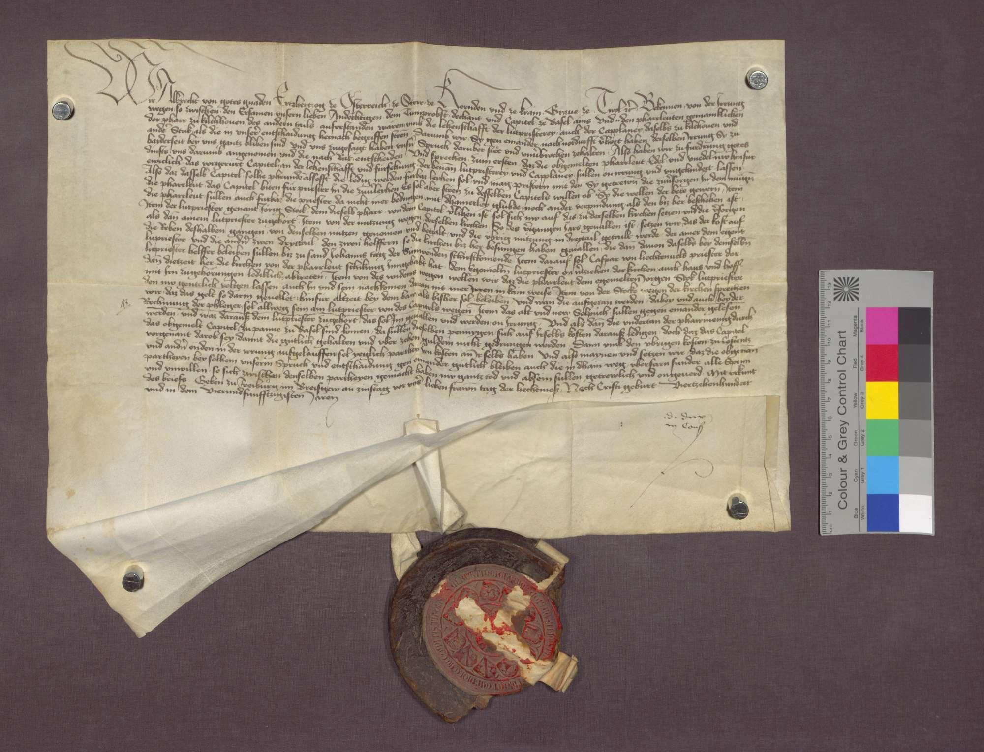Entscheid des Erzherzogs Albrecht von Österreich zwischen dem Basler Domkapitel und den Pfarrleuten der Pfarrei Kirchhofen, wie es mit der Leutpriesterei zu halten sei., Bild 2