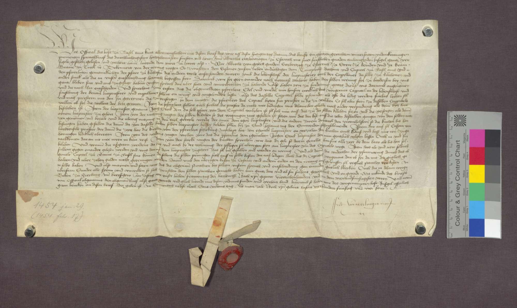 Vidimus der Entscheidung Erzherzog Albrechts von Österreich von 1454 Januar 29., Bild 1