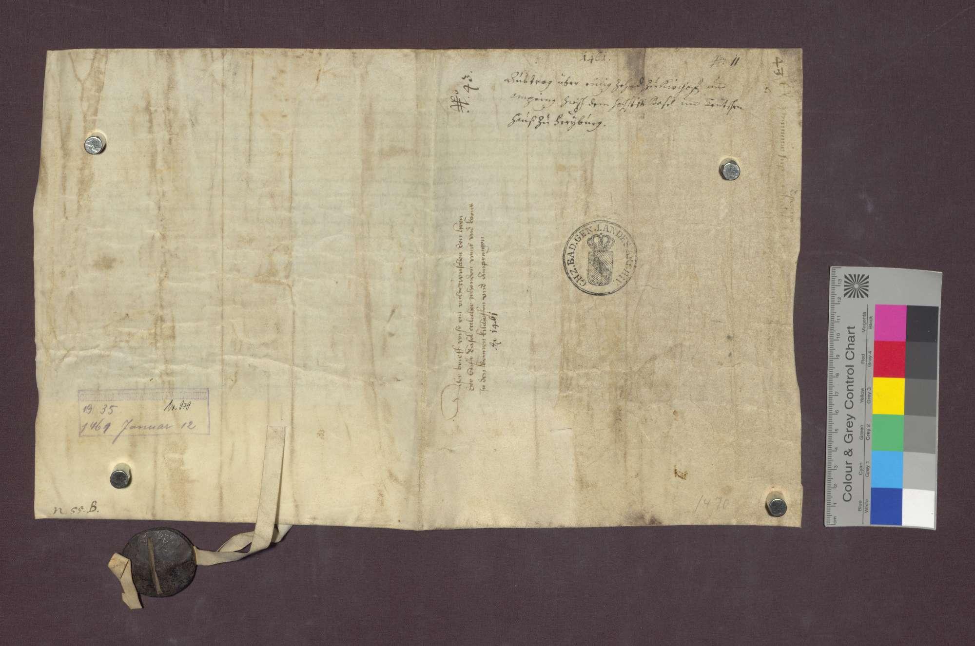 Vertrag zwischen dem Basler Domkapitel und dem Deutsch-Ordens-Haus in Freiburg wegen eines Zehnten in den Bännen Kirchhofen und Ambringen., Bild 2
