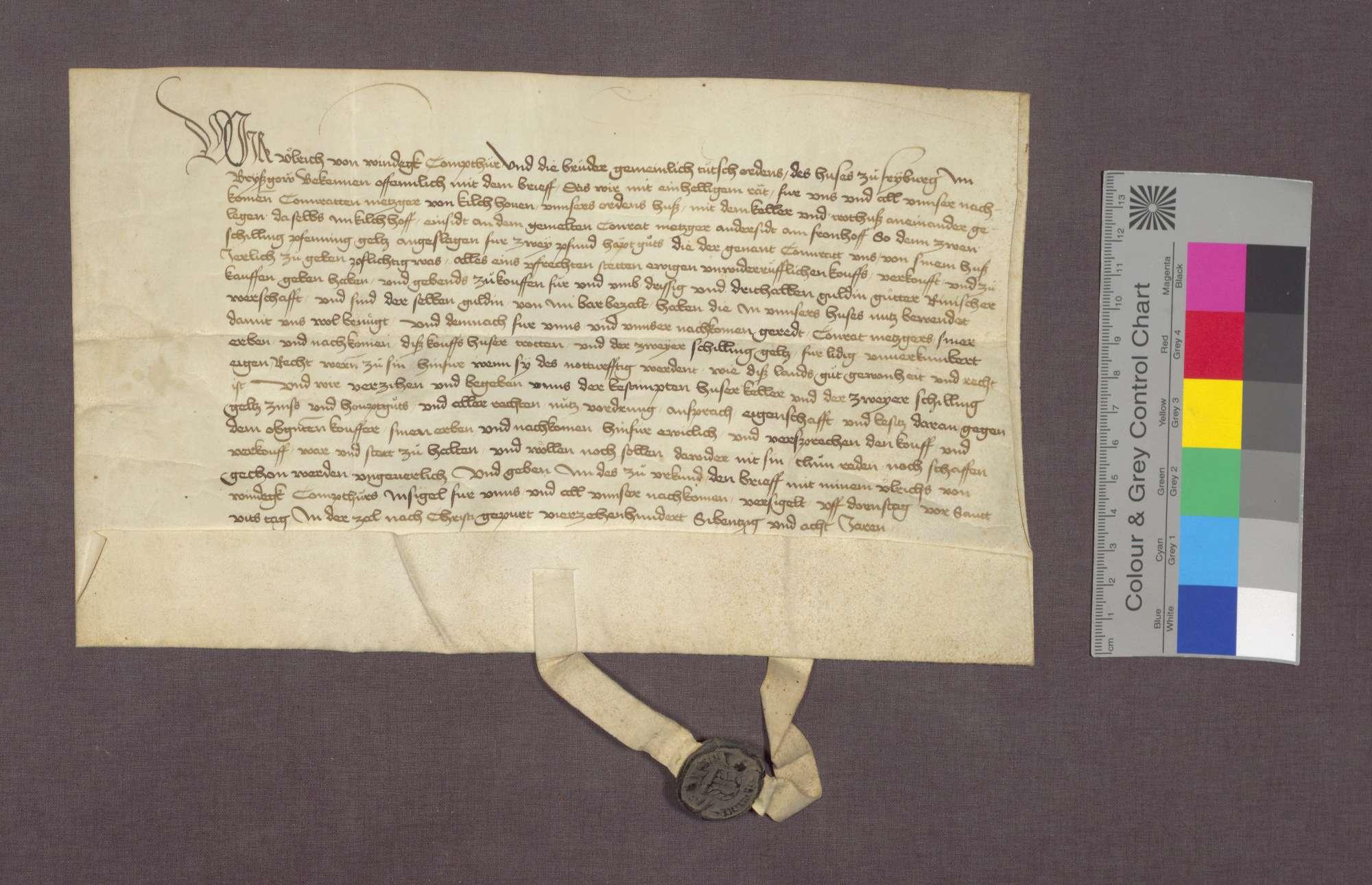 Die Deutsch-Herren zu Freiburg verkaufen an Konrad Metzger von Kirchhofen Haus, Keller und Trotte daselbst., Bild 1