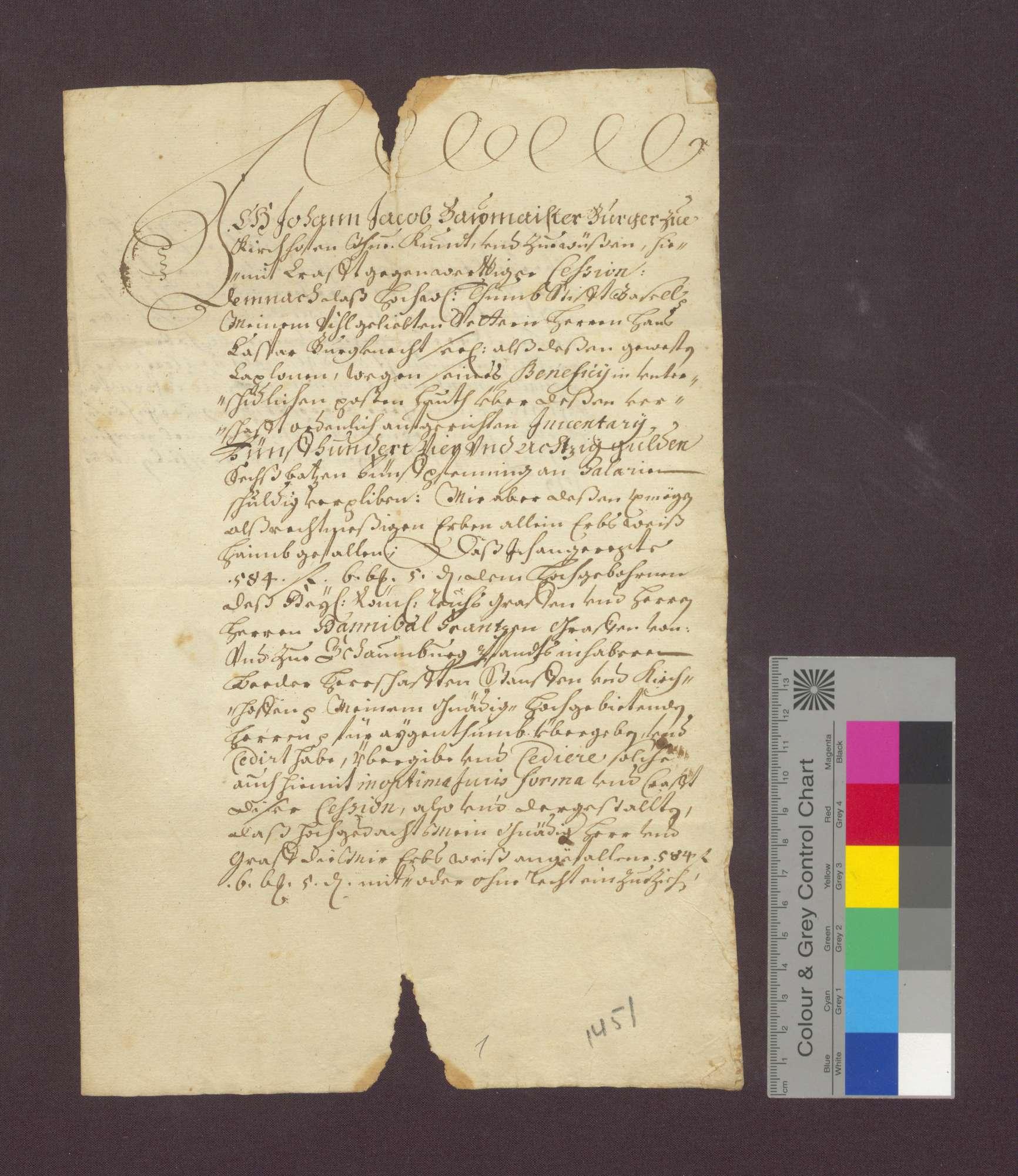 Johann Jakob Baumeister zu Kirchhofen überlässt eine Schuldforderung an das Domkapitel an den Grafen Hannibal Franz von Schauenburg., Bild 1