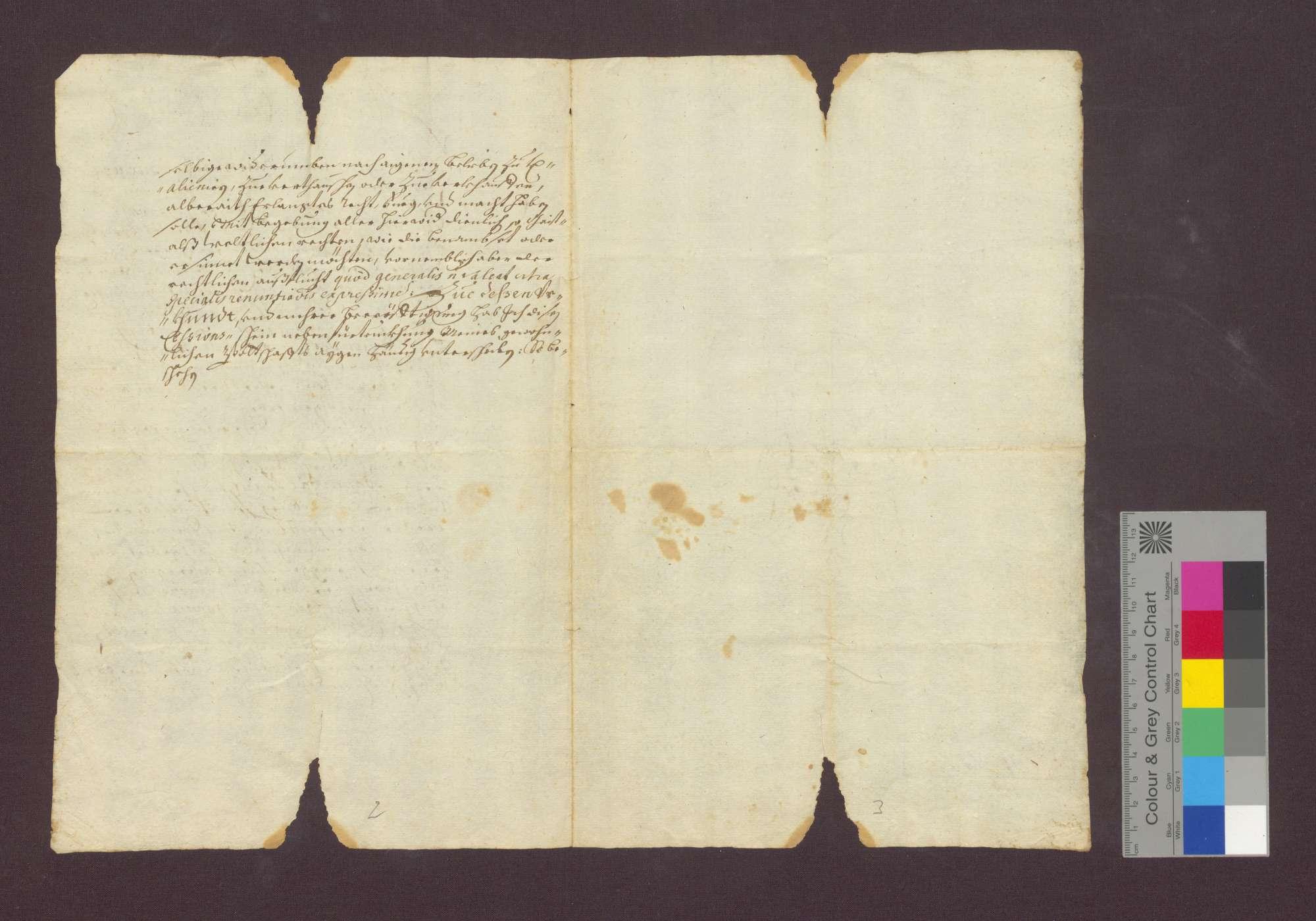 Johann Jakob Baumeister zu Kirchhofen überlässt eine Schuldforderung an das Domkapitel an den Grafen Hannibal Franz von Schauenburg., Bild 2