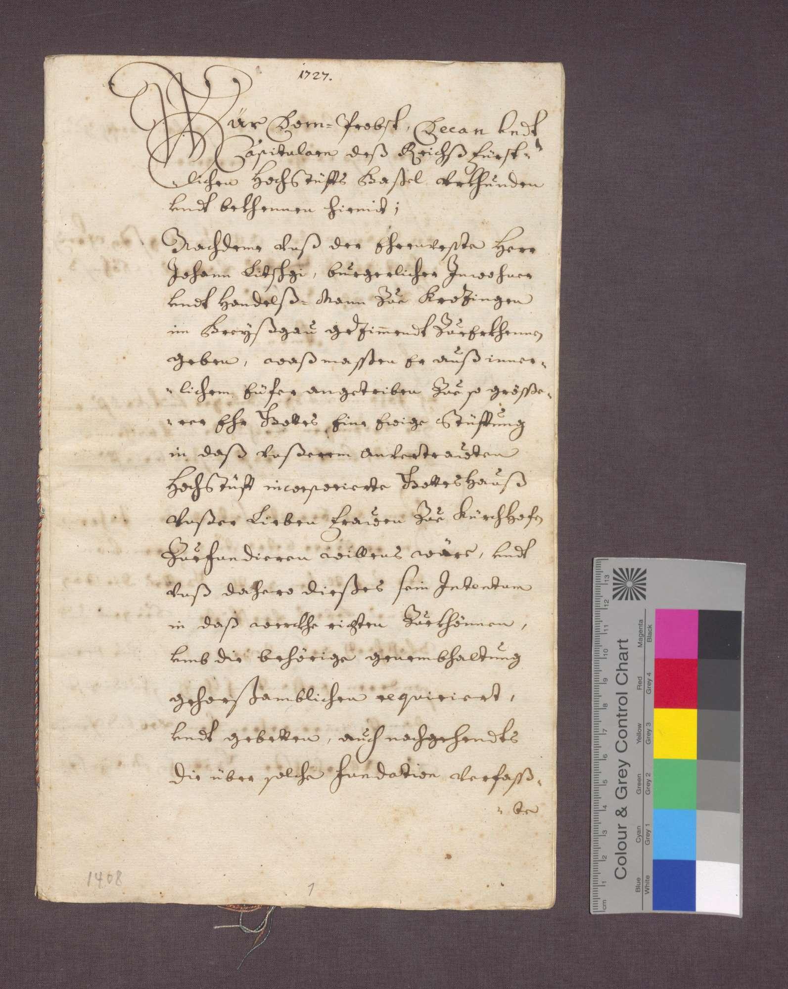 Der Konstanzer Generalvikar bestätigt die von Johannes Litschgi zu Krozingen gestiftete Kaplanei in Kirchhofen., Bild 2