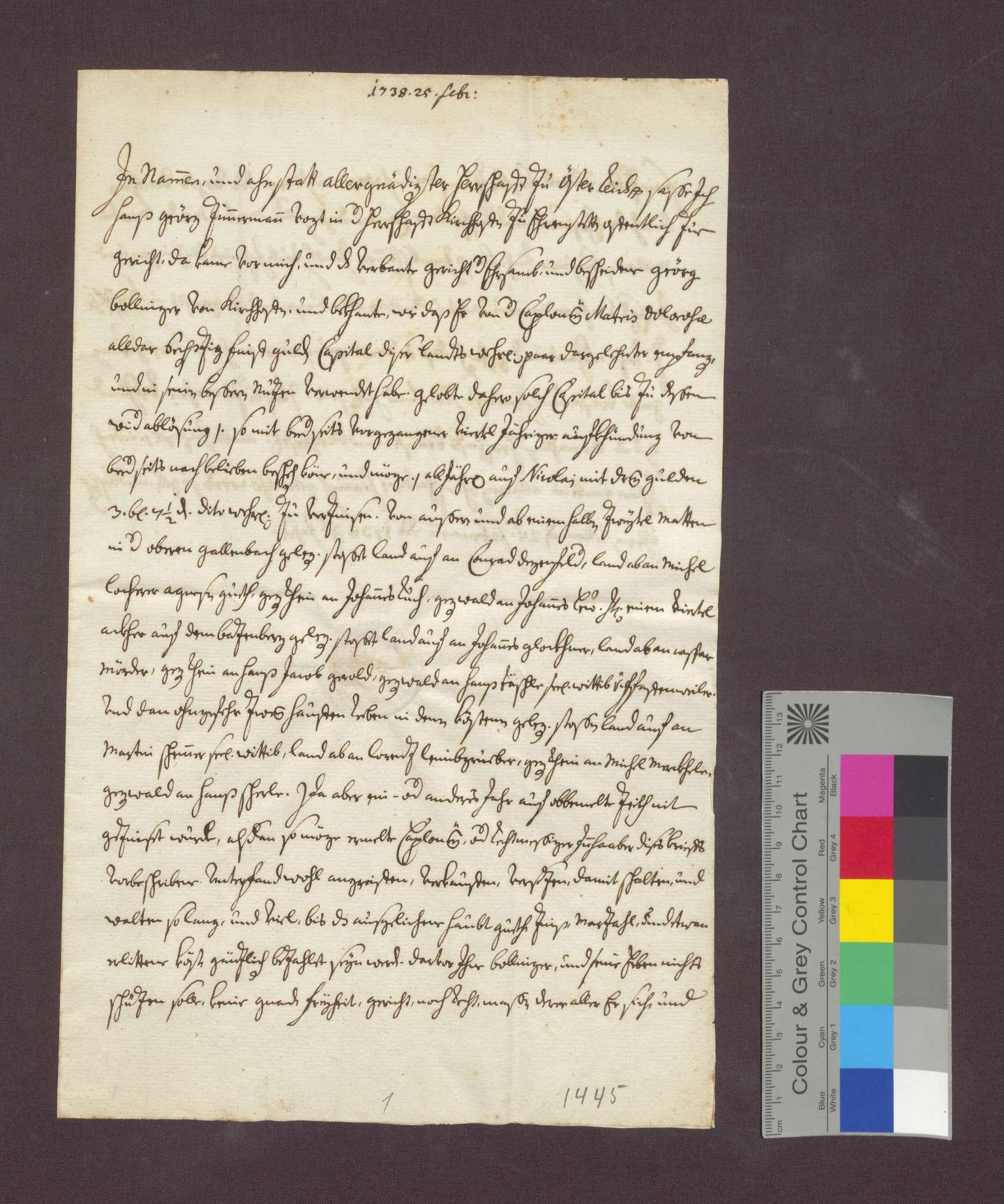 Schuldverschreibung des Georg Bollinger von Kirchhofen gegenüber der Sieben-Schmerzen-Mariae-Bruderschaft daselbst., Bild 1
