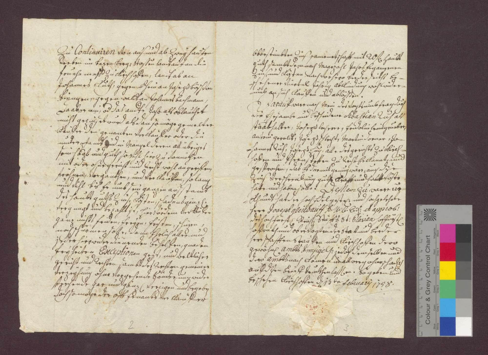 Schuldverschreibung des Hans Jakob Meng in Kirchhofen gegenüber der Frühmesse daselbst., Bild 2