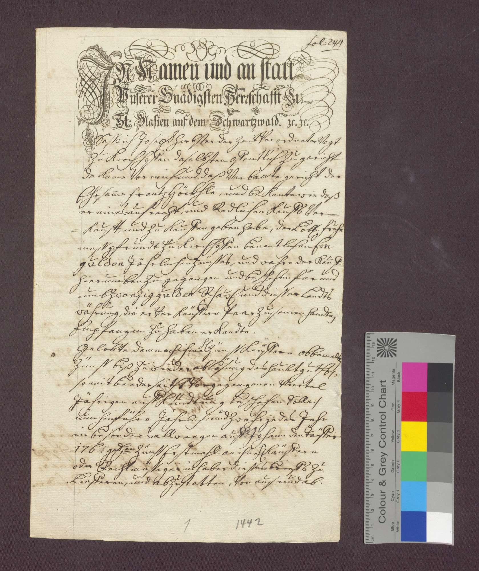 Schuldverschreibung des Hans Höckle zu Kirchhofen gegenüber der Frühmesse daselbst., Bild 1