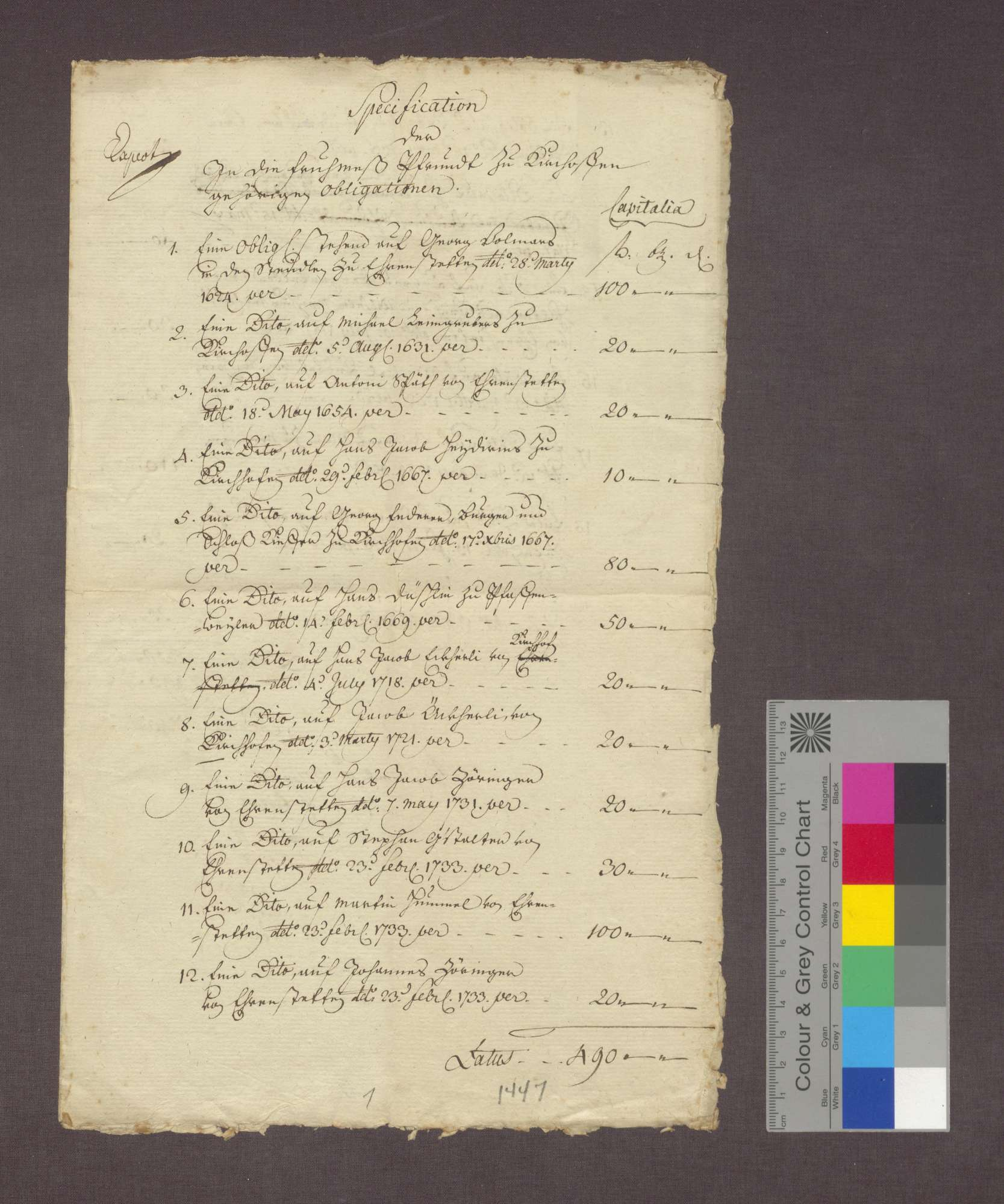 Verzeichnis der zur Frühmesspfründe in Kirchhofen gehörigen Obligationen., Bild 1
