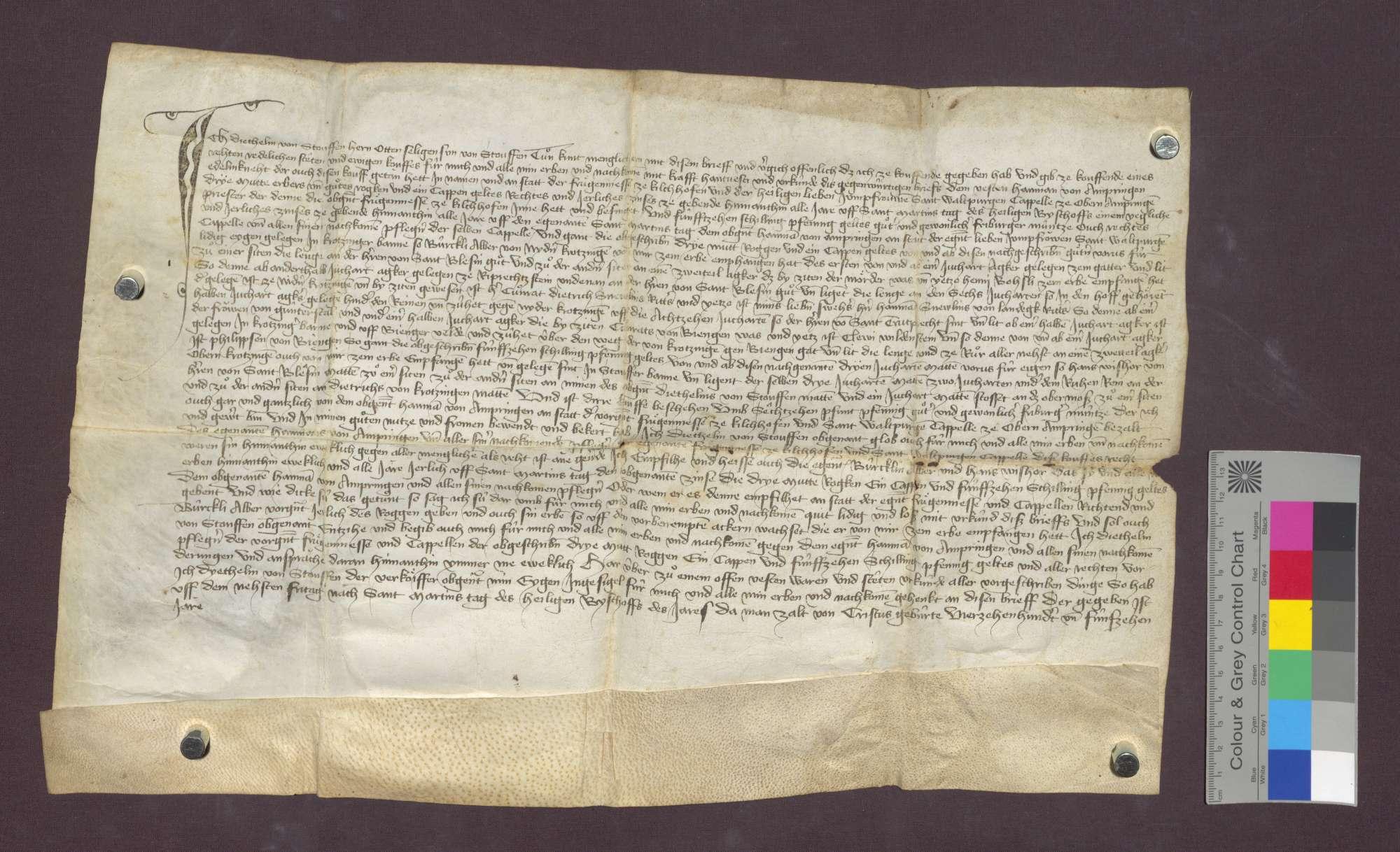 Diethelm von Staufen verkauft an die Frühmesse in Kirchhofen eine Gült von Gütern in Krozingen., Bild 1