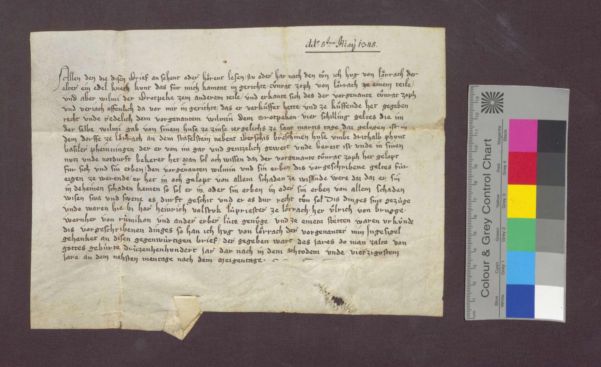 Gültverschreibung des Konrad Zopf in Lörrach gegenüber Wilmi, den Brotbäcker daselbst., Bild 1