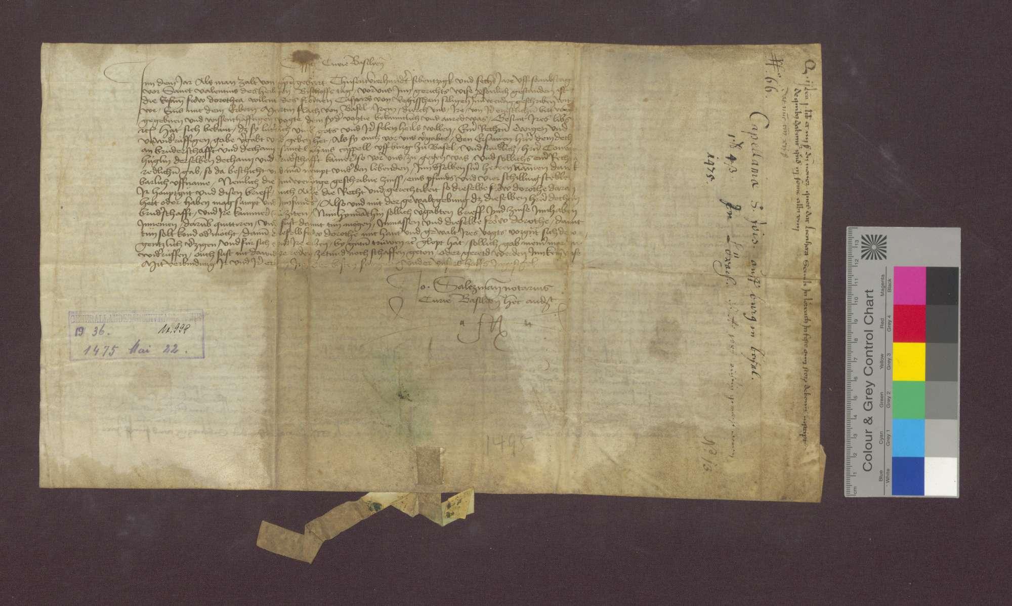 Gültverschreibung des Lienhart Senly von Lörrach gegenüber Dorothea von Regisheim., Bild 2
