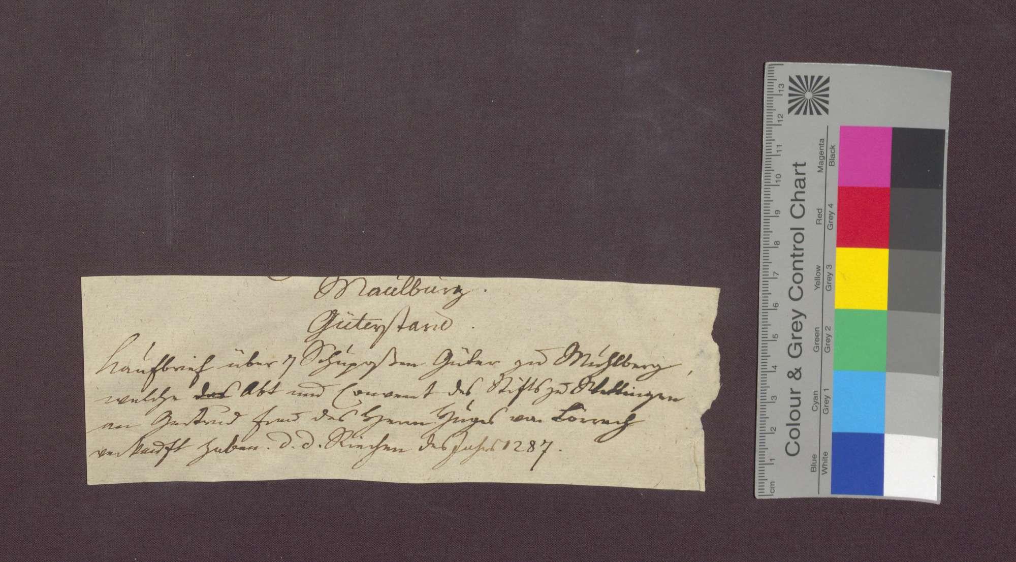 Das Kloster Wettingen verkauft 7 Schupposen in Maulburg an Gertrud, Ehefrau des Hug Vrowin von Lörrach., Bild 1