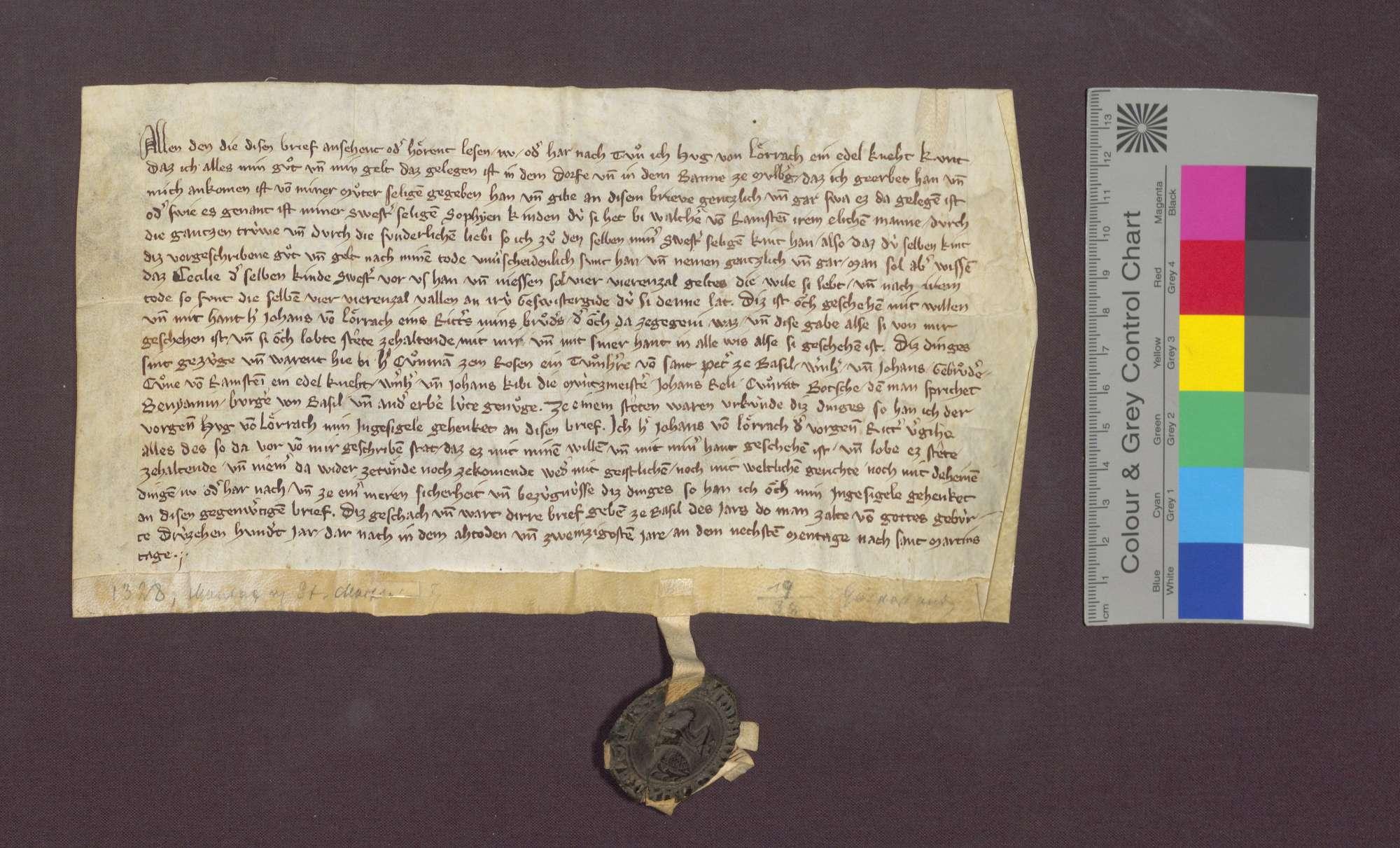 Der Edelknecht Hug von Lörrach schenkt all sein Gut und Geld in Maulburg an die Kinder seiner Schwester Sophie von Ramstein., Bild 2