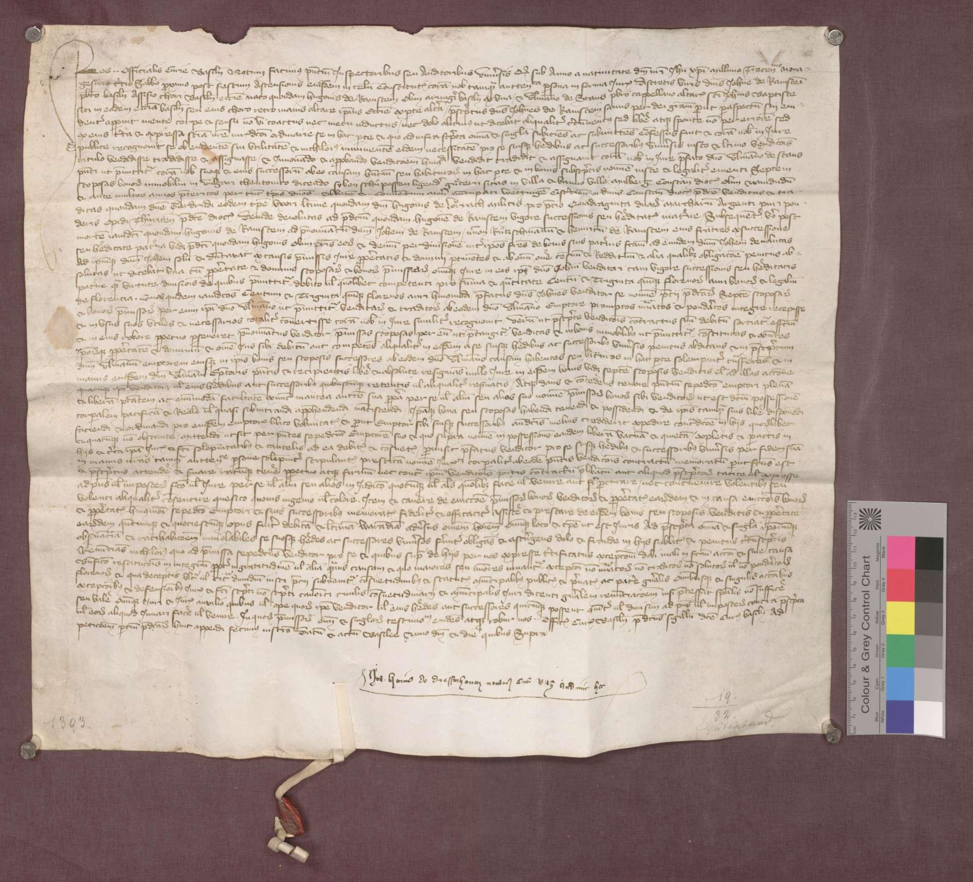 Johannes von Ramstein verkauft seine Güter in Maulburg an Ulmann von Stans, Kaplan des Johannes-Baptist-Altars im Basler Münster., Bild 1