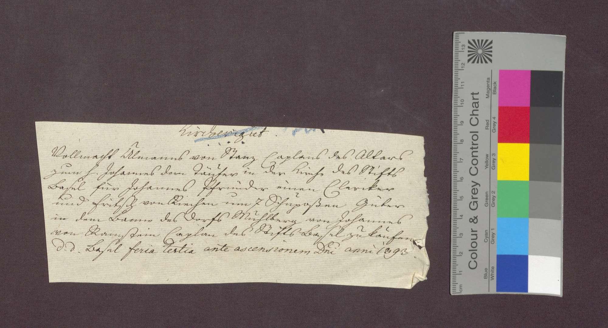 Ulmann von Stans beauftragt Johannes von Ramstein, 7 Schupposen in Maulburg für sich, den Inhaber des Johannes-Baptist-Altars in Basel, zu kaufen., Bild 1