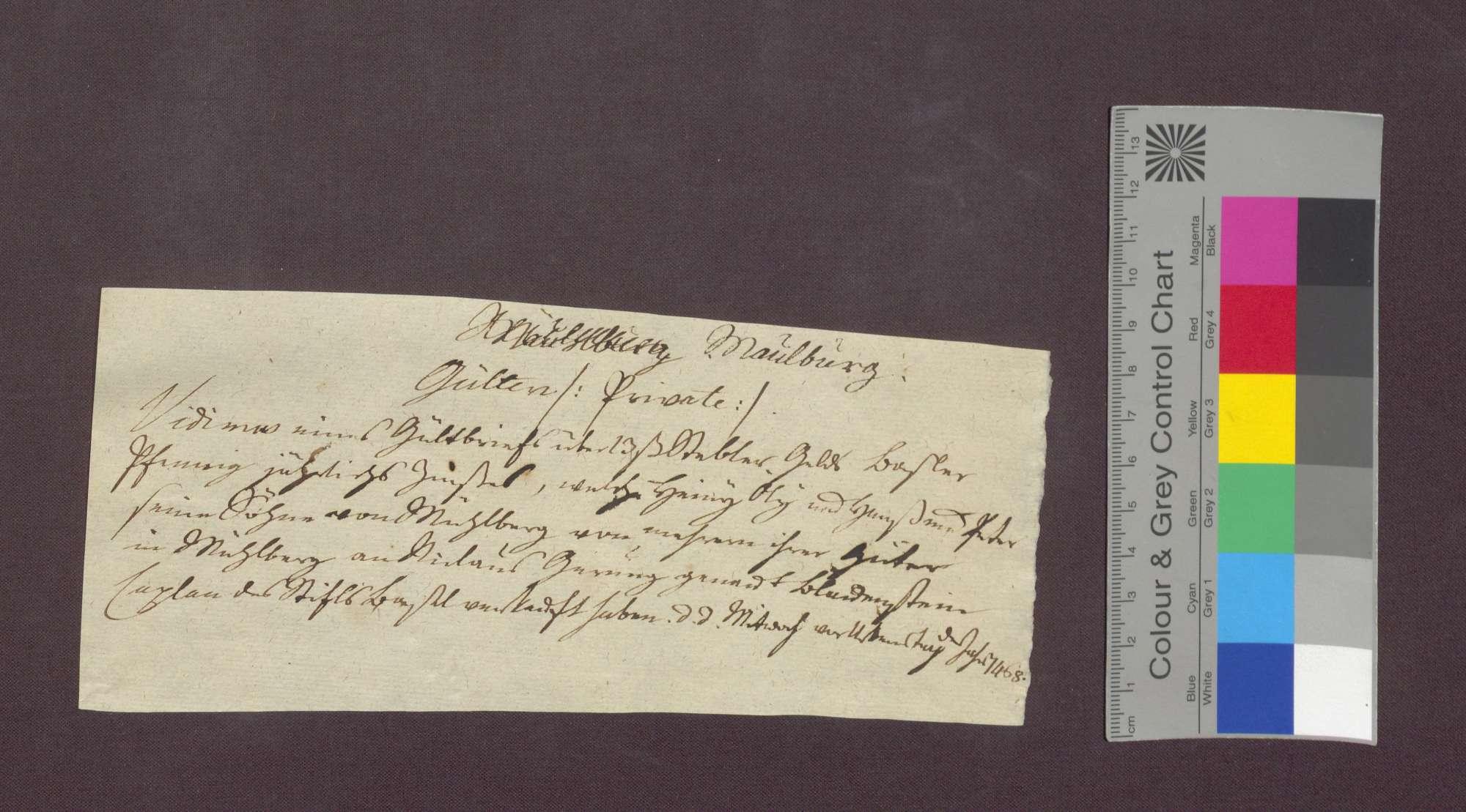 Gültverschreibung des Heini Ulli gen. Vischerli von Maulburg und seiner Söhne Hans und Peter gegenüber dem Basler Domkaplan Nikolaus Gerung gen. Blauenstein., Bild 1
