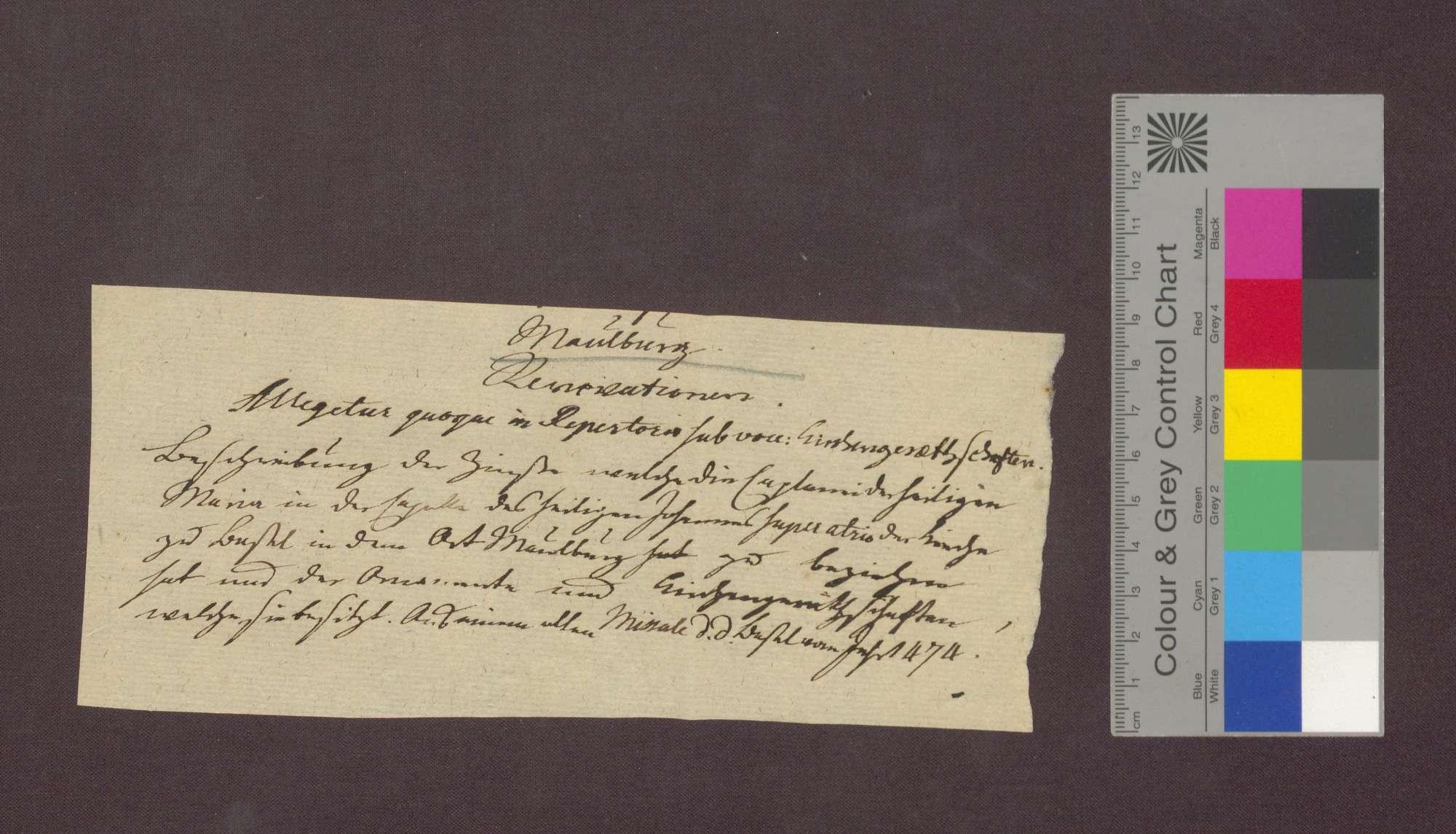 Beschreibung der Einkünfte der Marien-Kaplanei in der St. Johannes-Kapelle im Basler Münster zu Maulburg., Bild 1