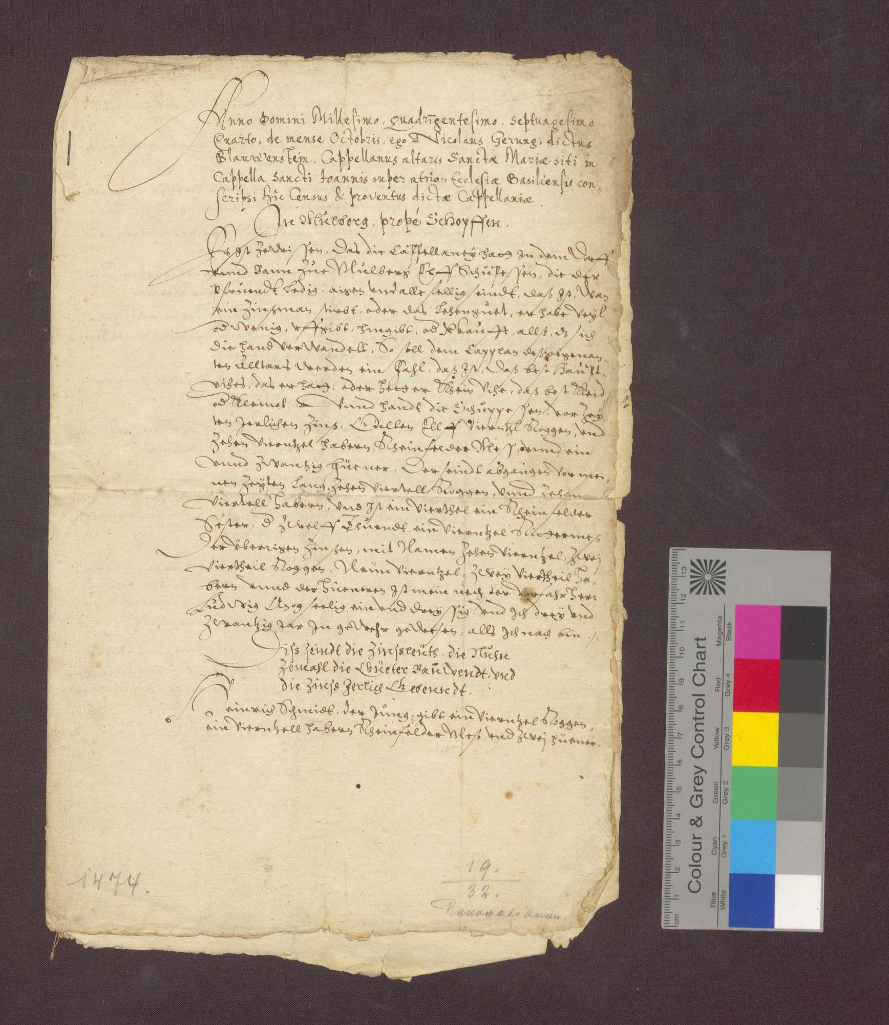 Beschreibung der Einkünfte der Marien-Kaplanei in der St. Johannes-Kapelle im Basler Münster zu Maulburg., Bild 2