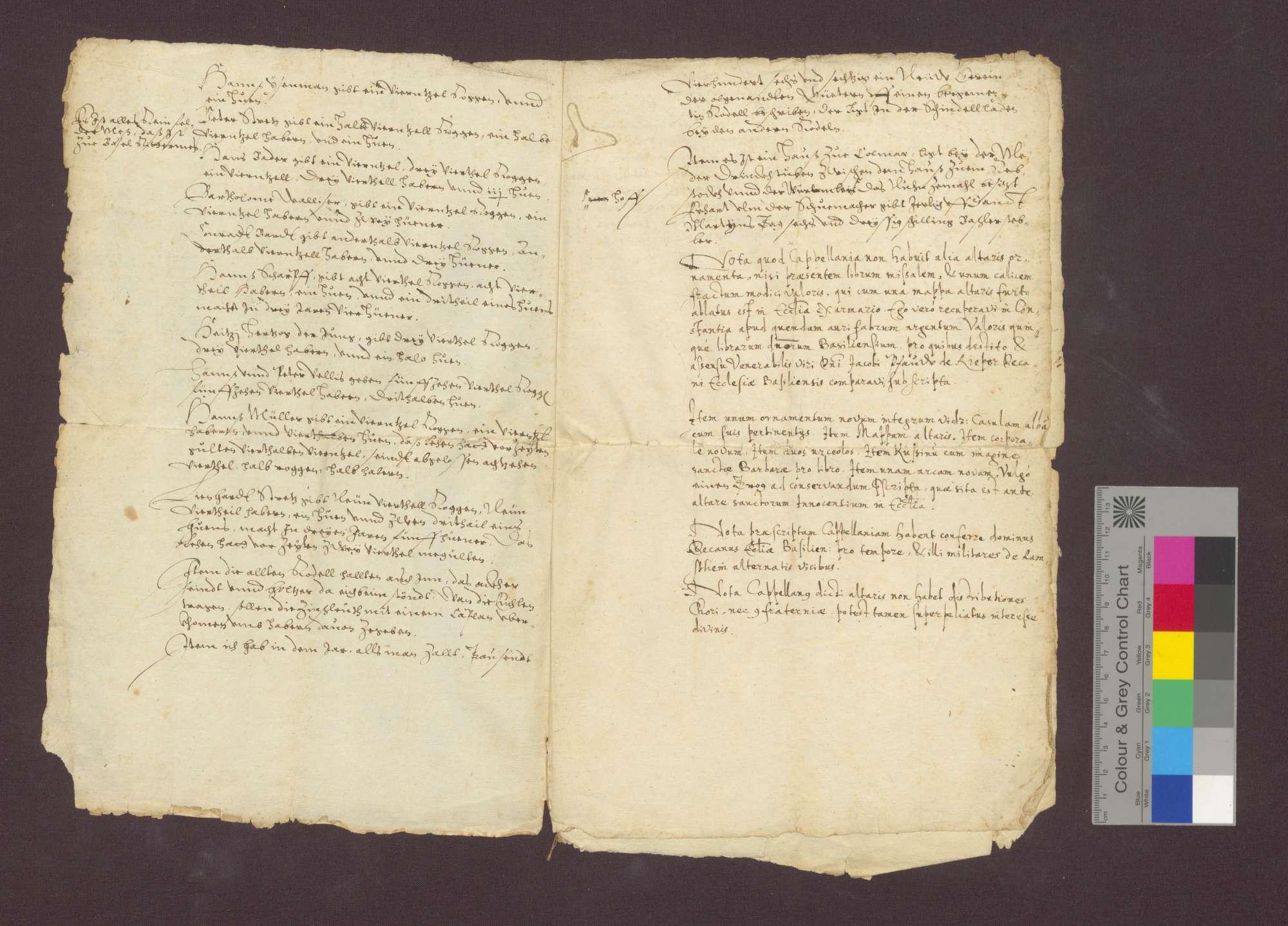 Beschreibung der Einkünfte der Marien-Kaplanei in der St. Johannes-Kapelle im Basler Münster zu Maulburg., Bild 3
