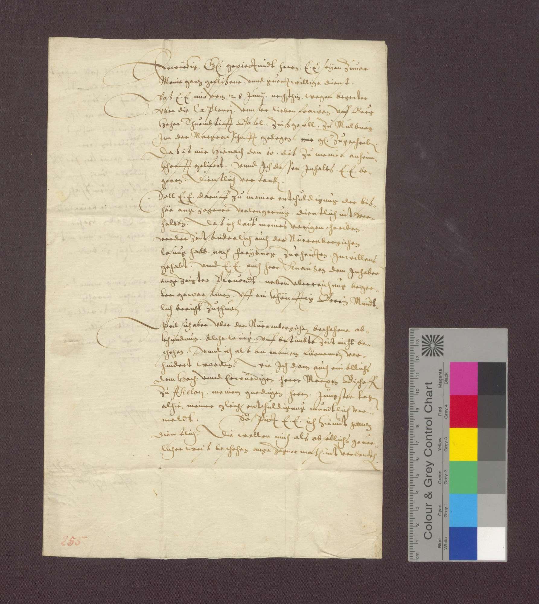 Schreiben wegen Einziehung von Gefällen des Basler Domkapitels, damals in Freiburg, zu Maulburg im Wiesental., Bild 1