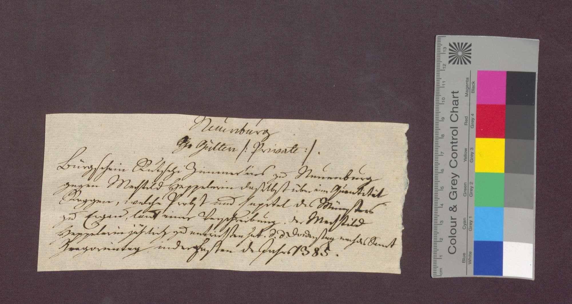Rutschi Zimerli d. J. von Neuenburg leistet dem Stift zu Münster im Aargau (Beromünster) anstelle des verstorbenen Kuni Hawart Bürgschaft gegenüber Mechtild Höppelerin in Neuenburg., Bild 1
