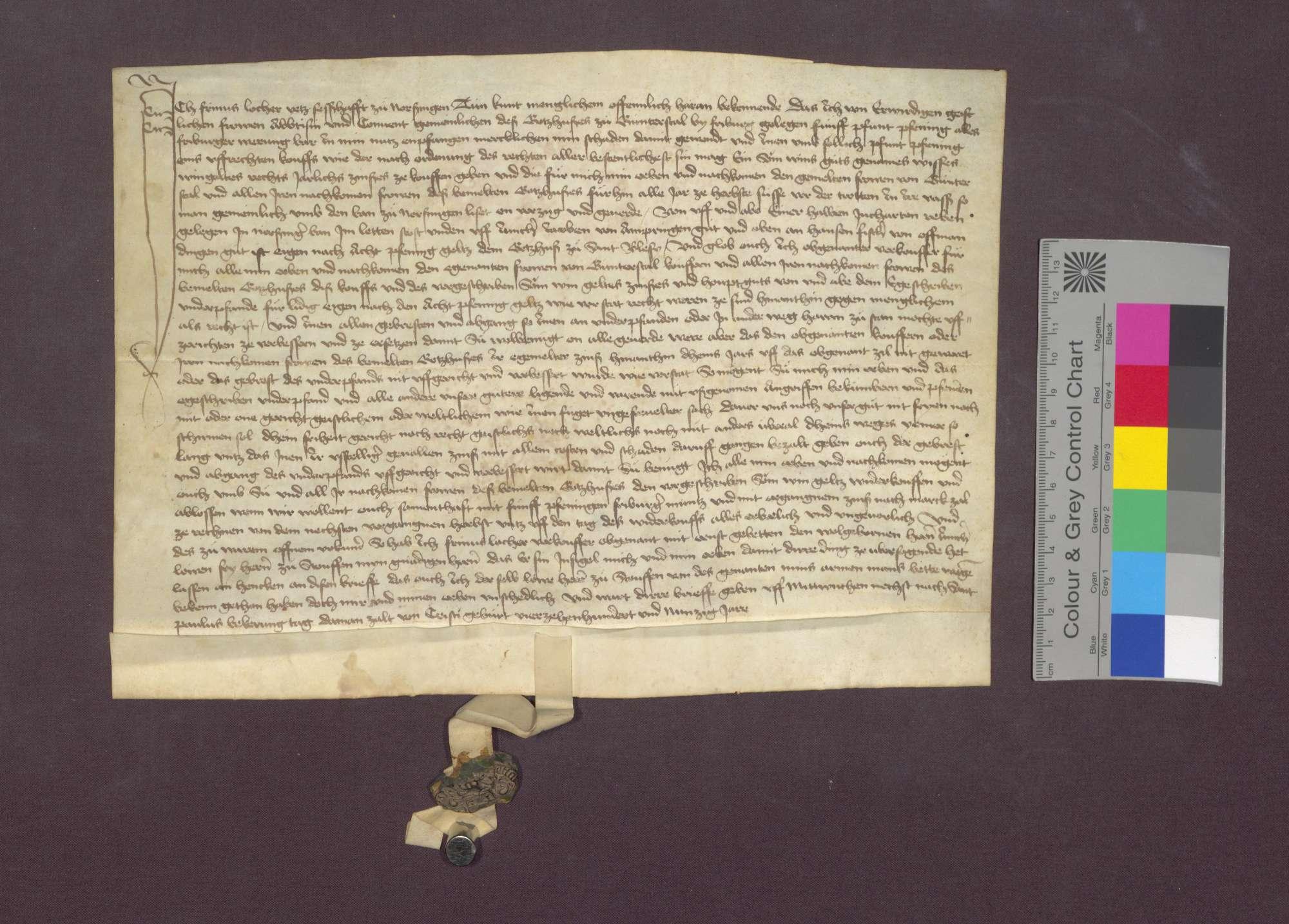 Gültverschreibung des Frinus Locher von Norsingen gegenüber dem Kloster Günterstal., Bild 2