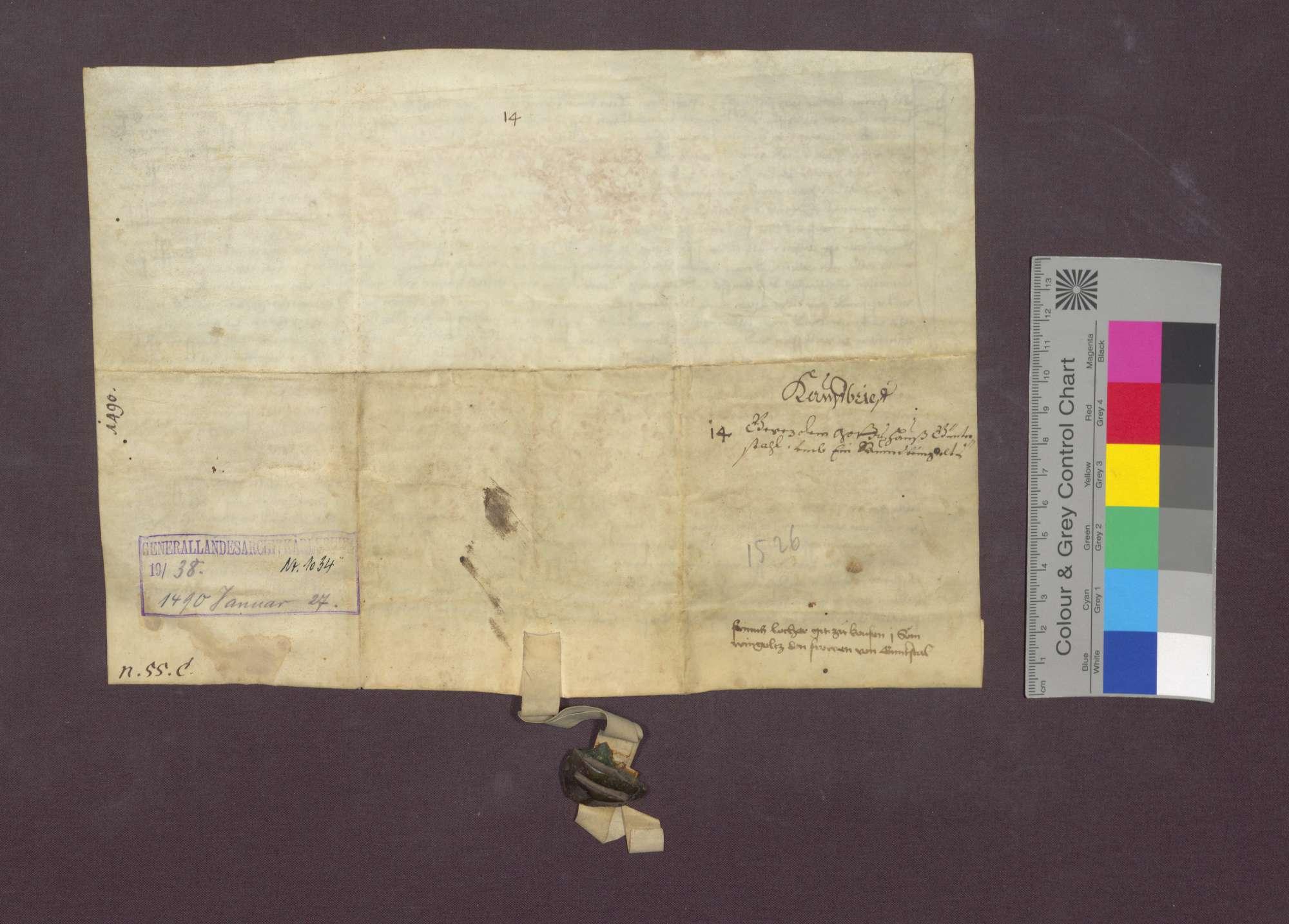 Gültverschreibung des Frinus Locher von Norsingen gegenüber dem Kloster Günterstal., Bild 3