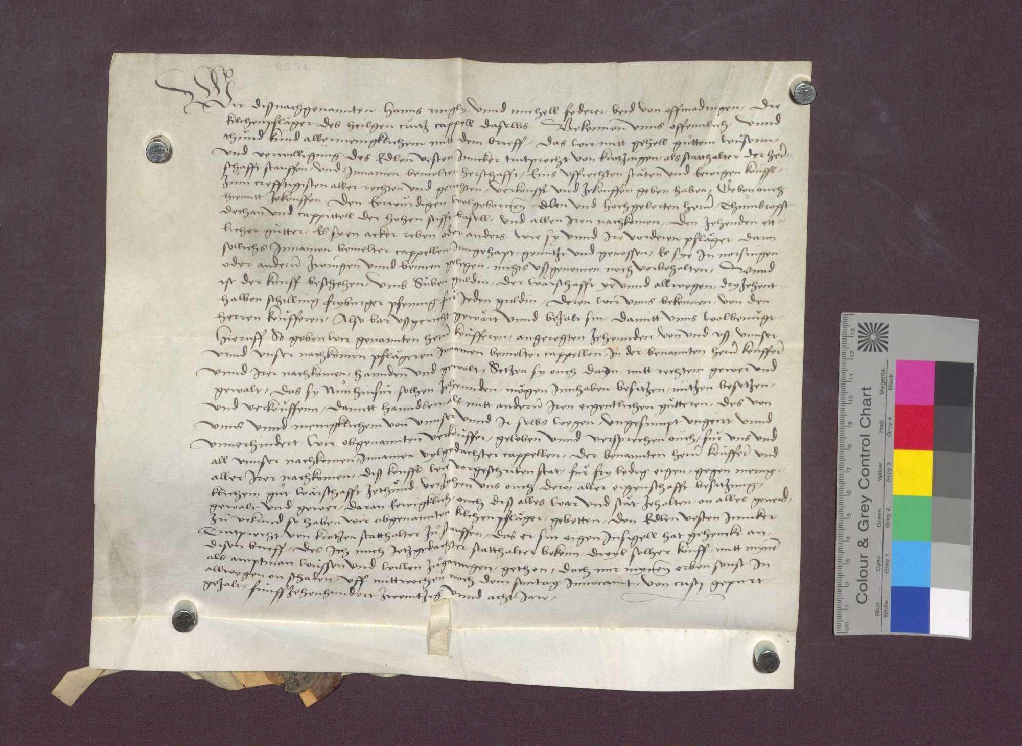 Die Kirchenpfleger zu Offnadingen verkaufen einen Zehnten in Norsinger Bann an das Basler Domkapitel., Bild 3