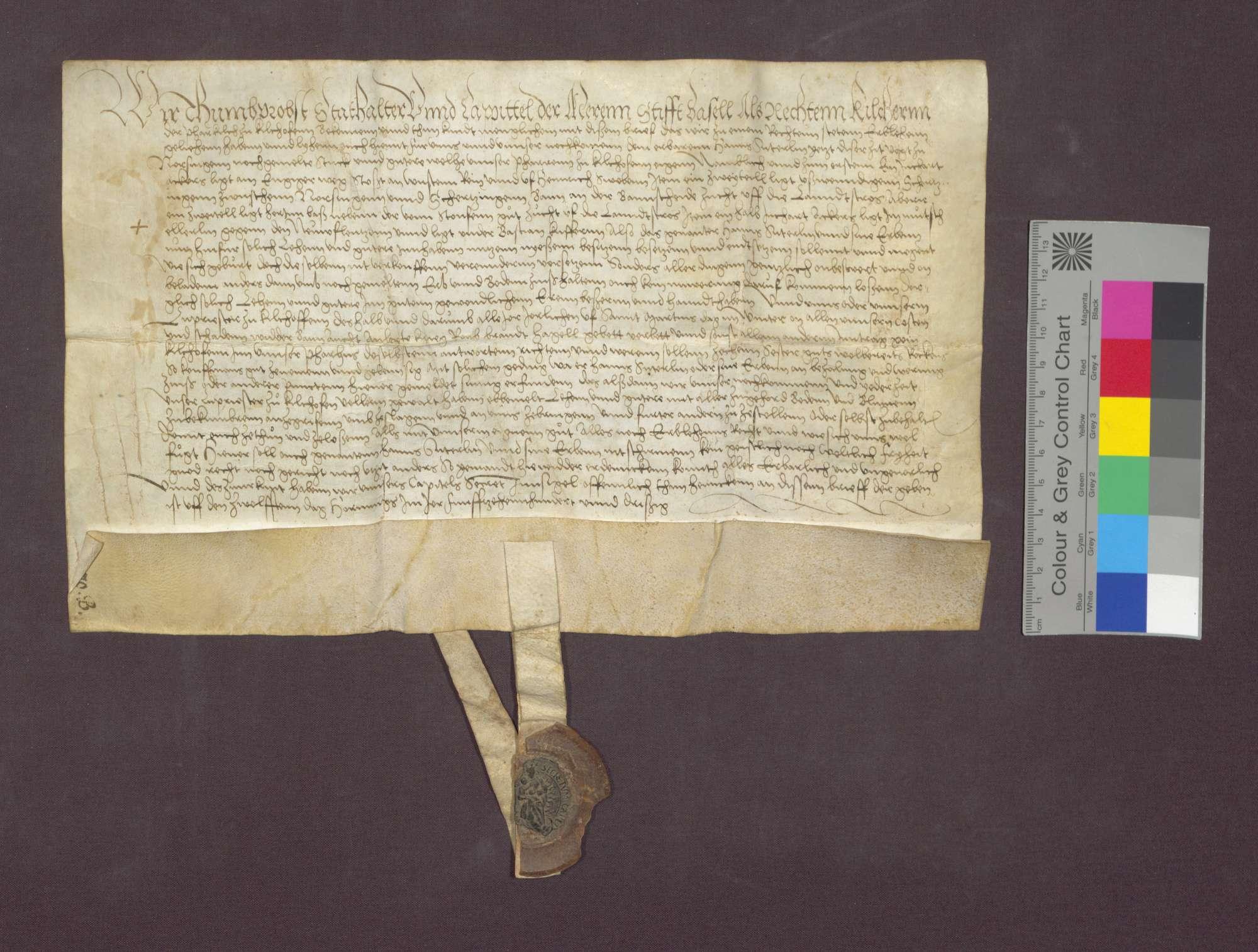 Lehnbrief des Basler Domkapitels für Hans Suterlin, Vogt zu Norsingen., Bild 2