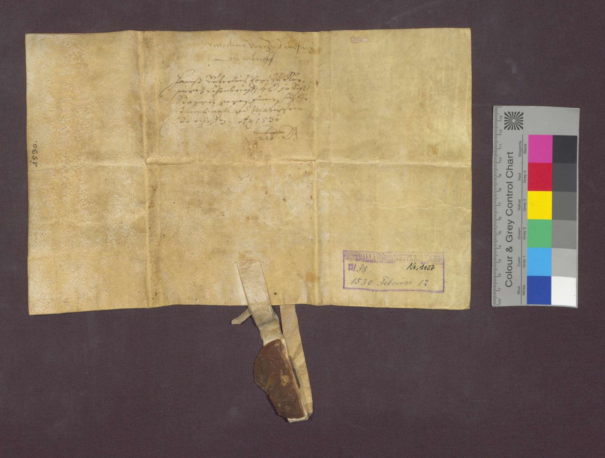 Lehnbrief des Basler Domkapitels für Hans Suterlin, Vogt zu Norsingen., Bild 3