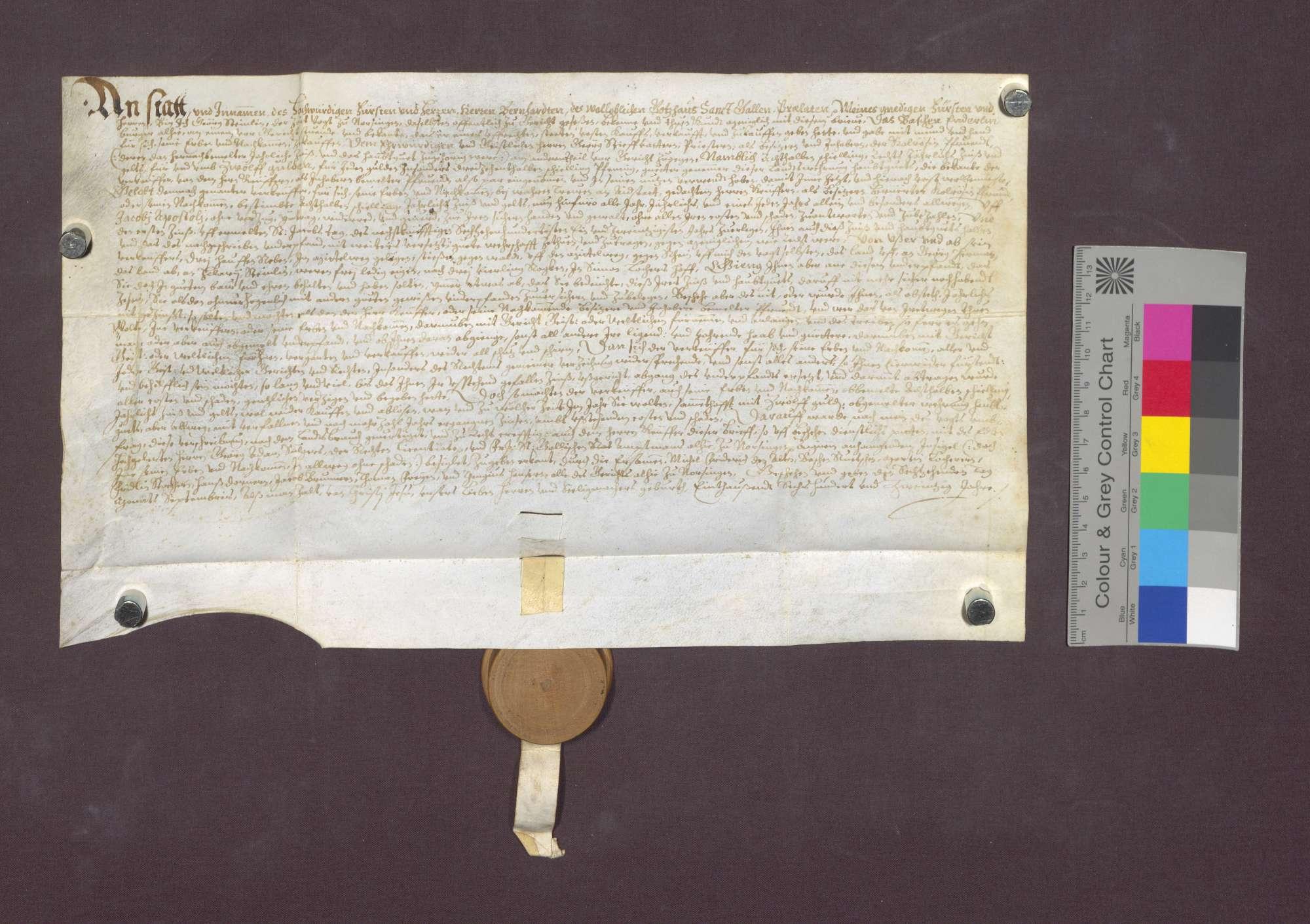 Schuldverschreibung des Sebastian Enderlin von Norsingen gegenüber der Colrosen-Pfründe in Kirchhofen., Bild 2