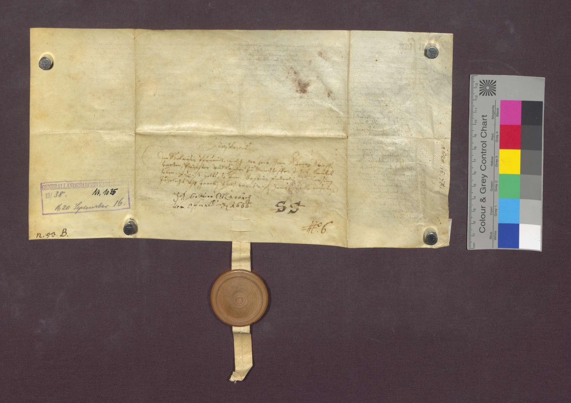 Schuldverschreibung des Sebastian Enderlin von Norsingen gegenüber der Colrosen-Pfründe in Kirchhofen., Bild 3