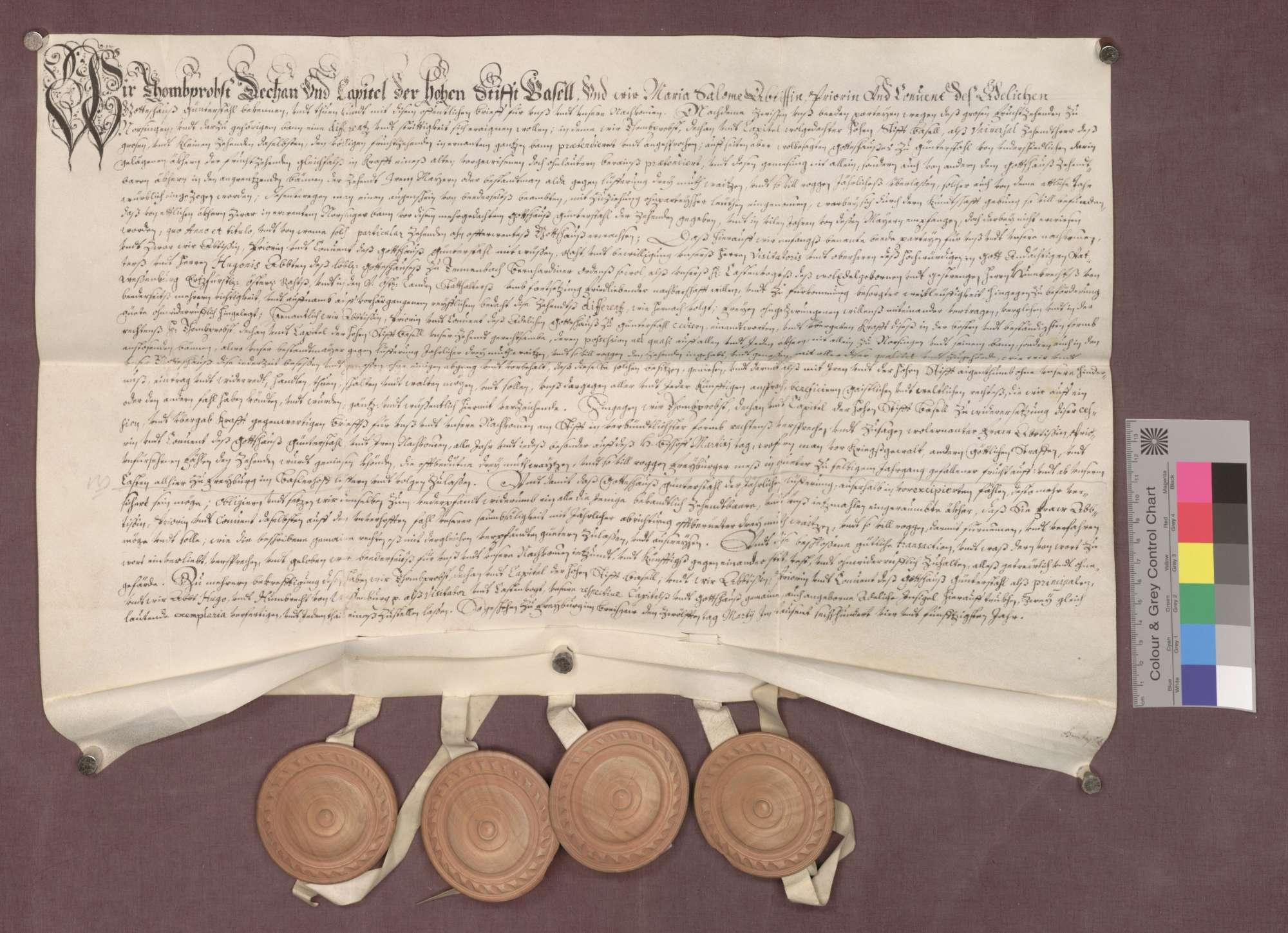 Vertrag zwischen dem Basler Domkapitel und der Abtei Günterstal über den Zehnt zu Norsingen., Bild 1