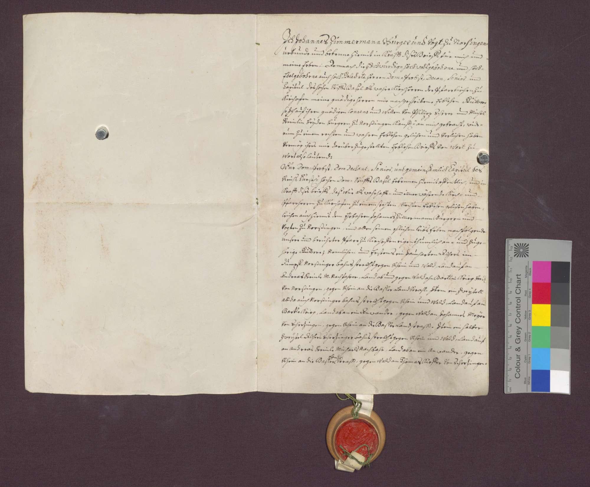 Lehnrevers des Johannes Zimmermann gegenüber dem Basler Domkapitel., Bild 2