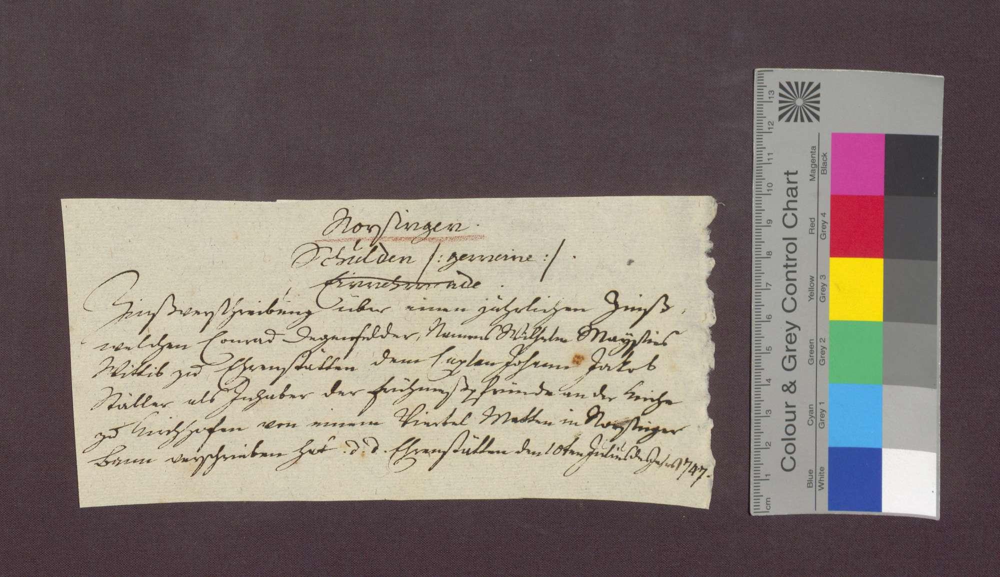 Schuldverschreibung des Konrad Degenfeld als Beistand der Witwe des Wilhelm Maysin zu Ehrenstetten gegenüber der Frühmesse wegen Gütern zu Norsingen., Bild 1
