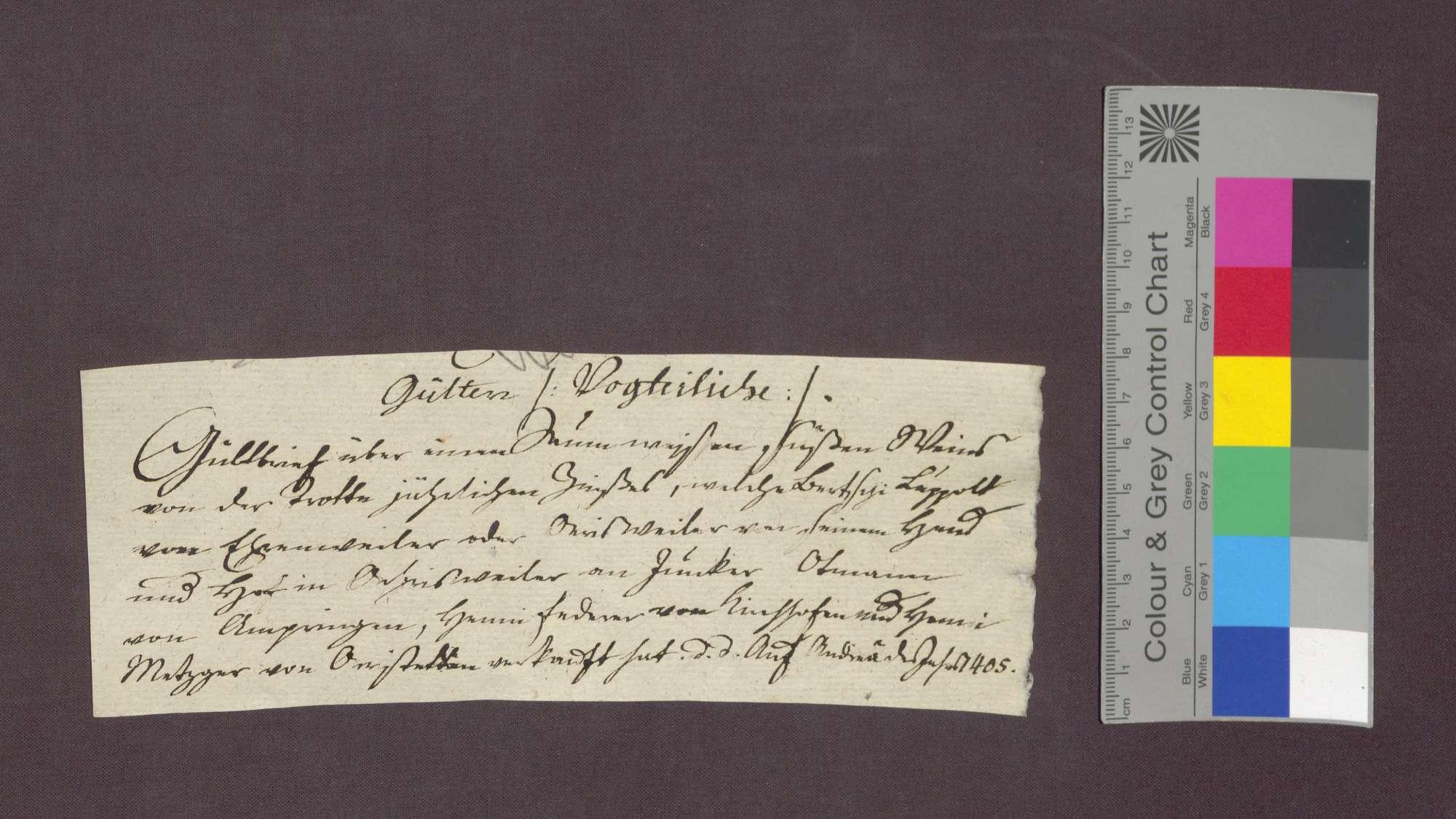 Gültverschreibung des Bertschi Luppolt von Öhlinsweiler gegenüber der Frühmesse in Kirchhofen., Bild 1