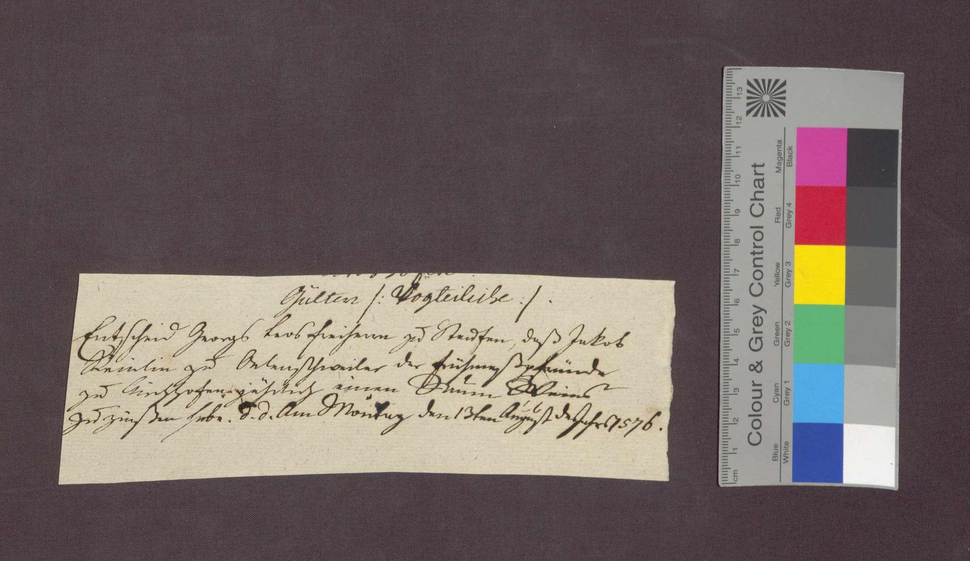 Das Gericht zu Staufen spricht Jakob Reinlin von Öhlinsweiler schuldig, an die Kirchenpflege zu Kirchhofen eine jährliche Gült zu zahlen., Bild 1
