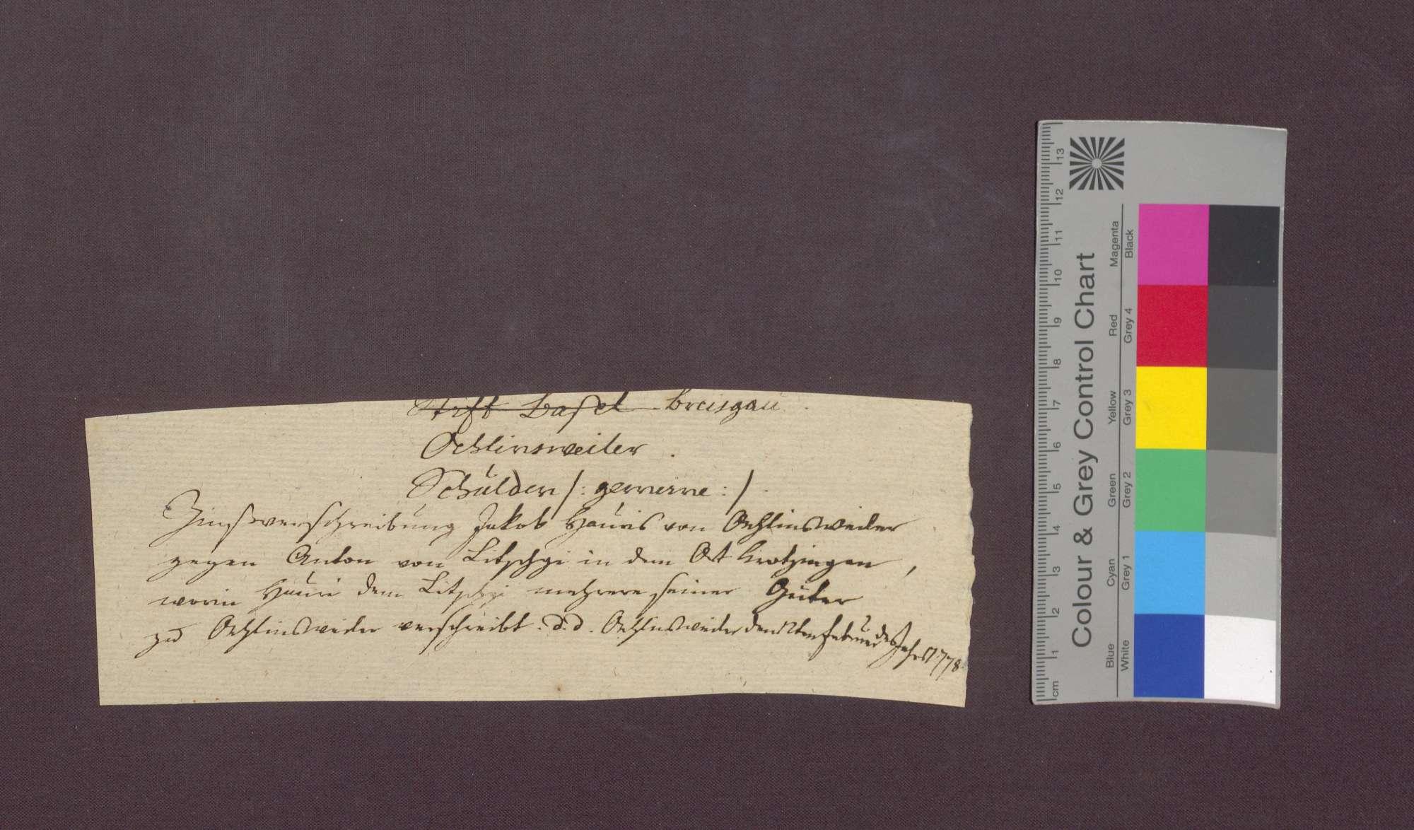 Schuldverschreibung des Jakob Hauri von Öhlinsweiler gegenüber Anton von Litschgi zu Krozingen., Bild 1