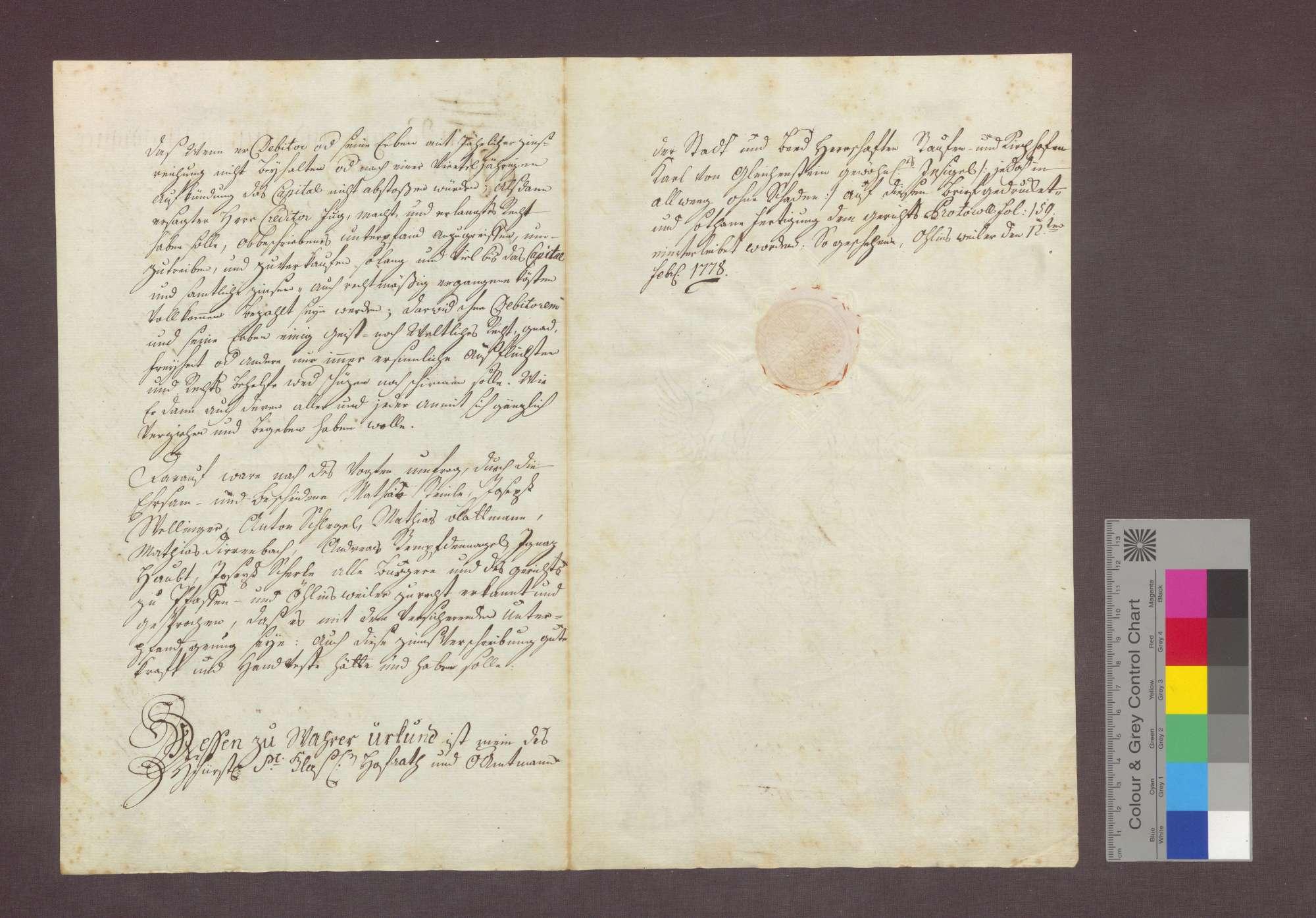 Schuldverschreibung des Jakob Hauri von Öhlinsweiler gegenüber Anton von Litschgi zu Krozingen., Bild 2